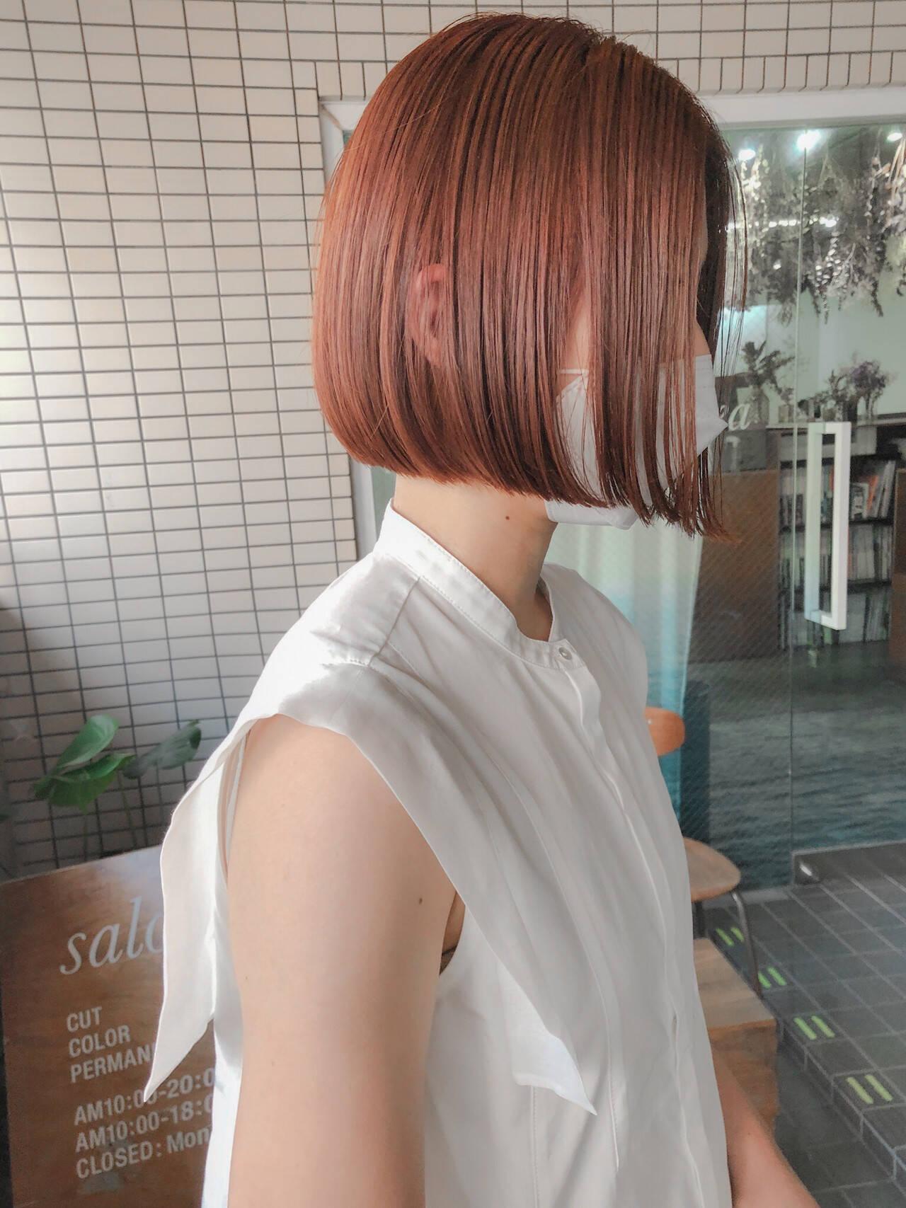 ミニボブ オレンジブラウン ダブルカラー ボブヘアスタイルや髪型の写真・画像