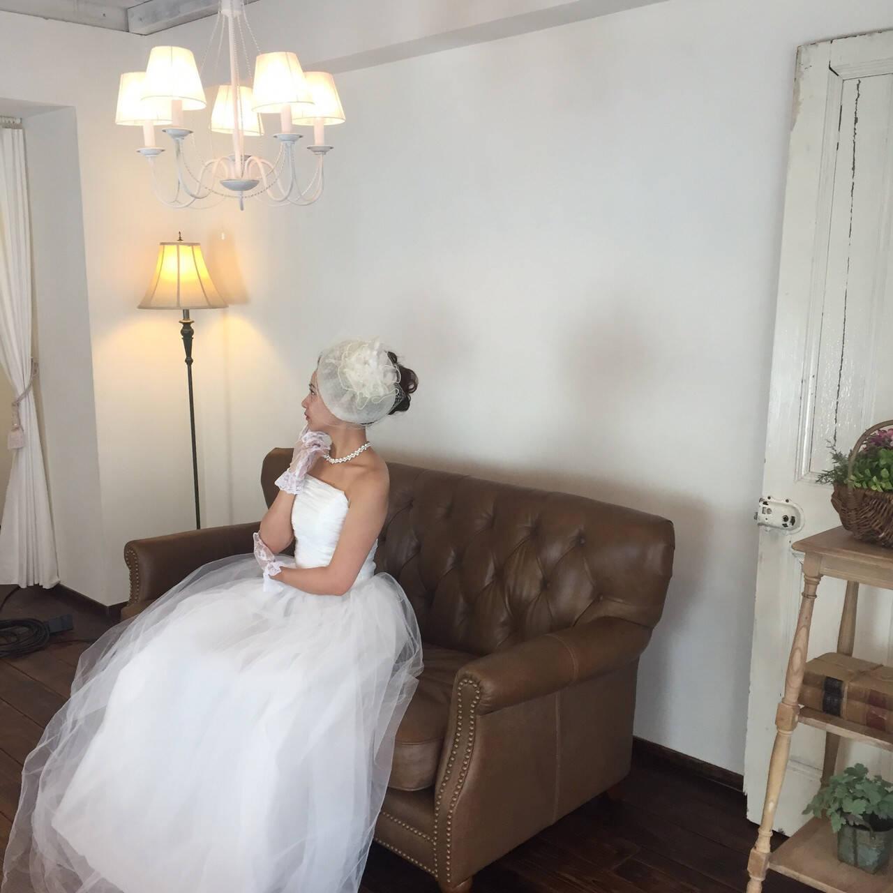 結婚式 ブライダル フェミニン 結婚式ヘアアレンジヘアスタイルや髪型の写真・画像