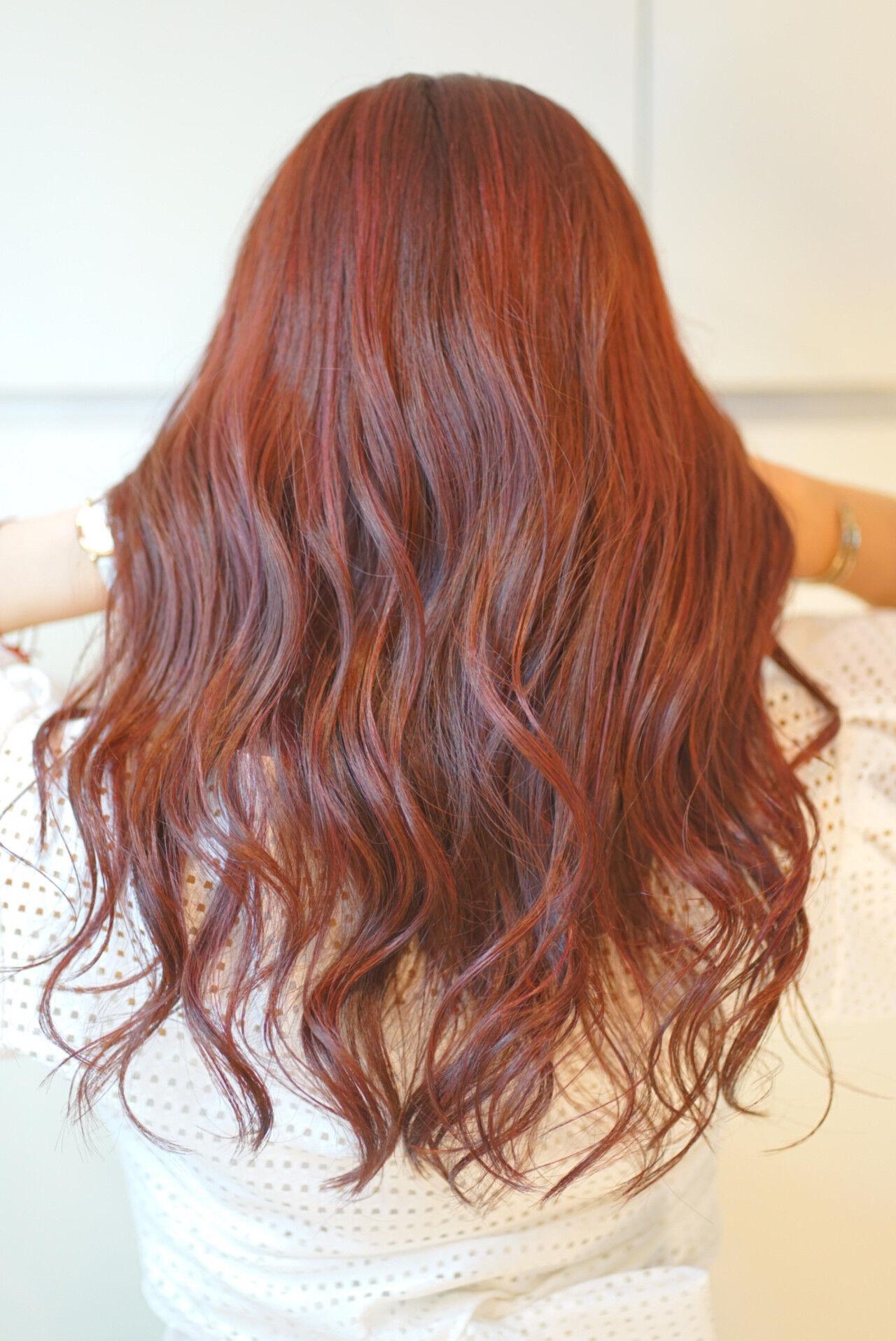 セミロング ガーリー 秋ブラウン ピンクヘアスタイルや髪型の写真・画像