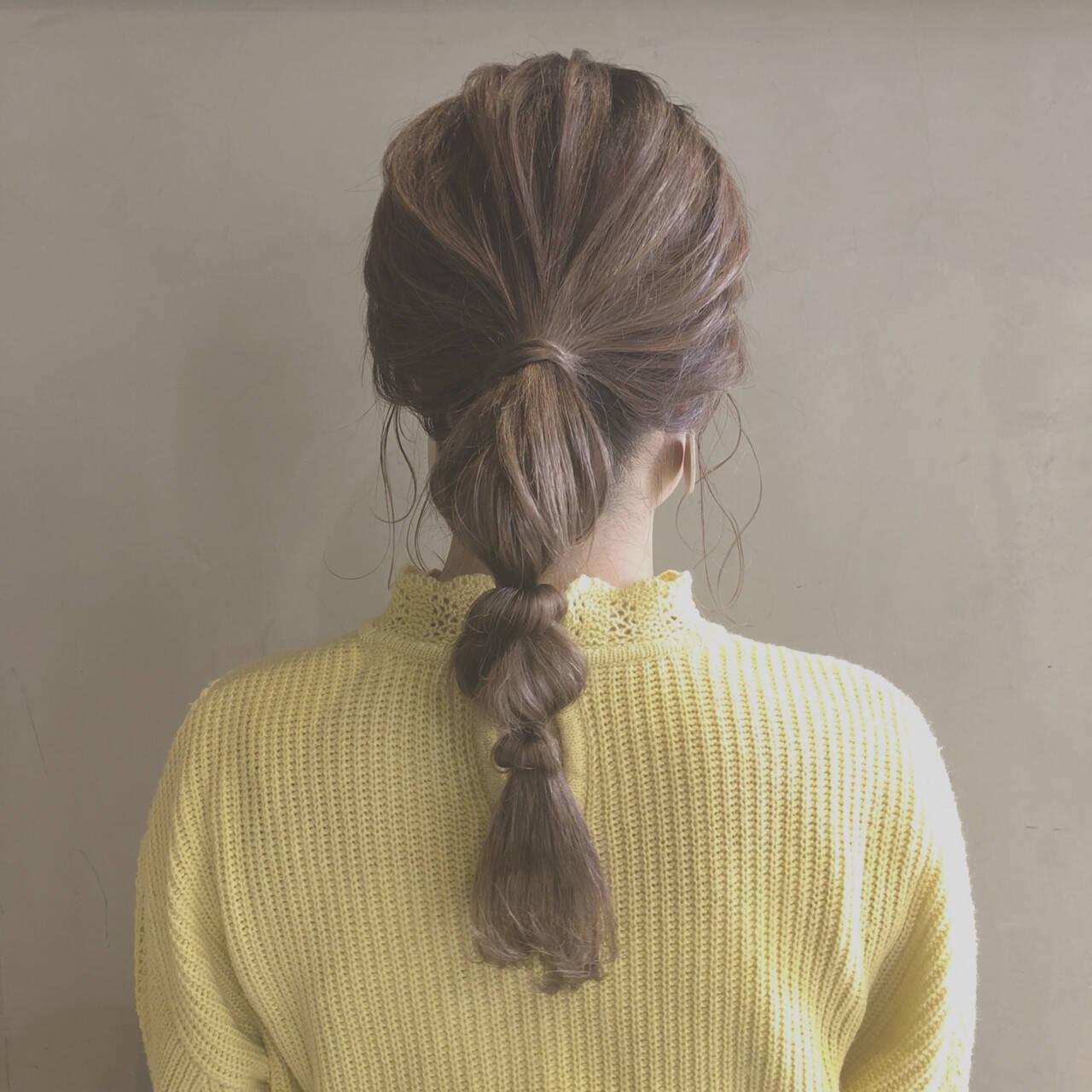 たまねぎアレンジ ポニーテール 簡単ヘアアレンジ セミロングヘアスタイルや髪型の写真・画像