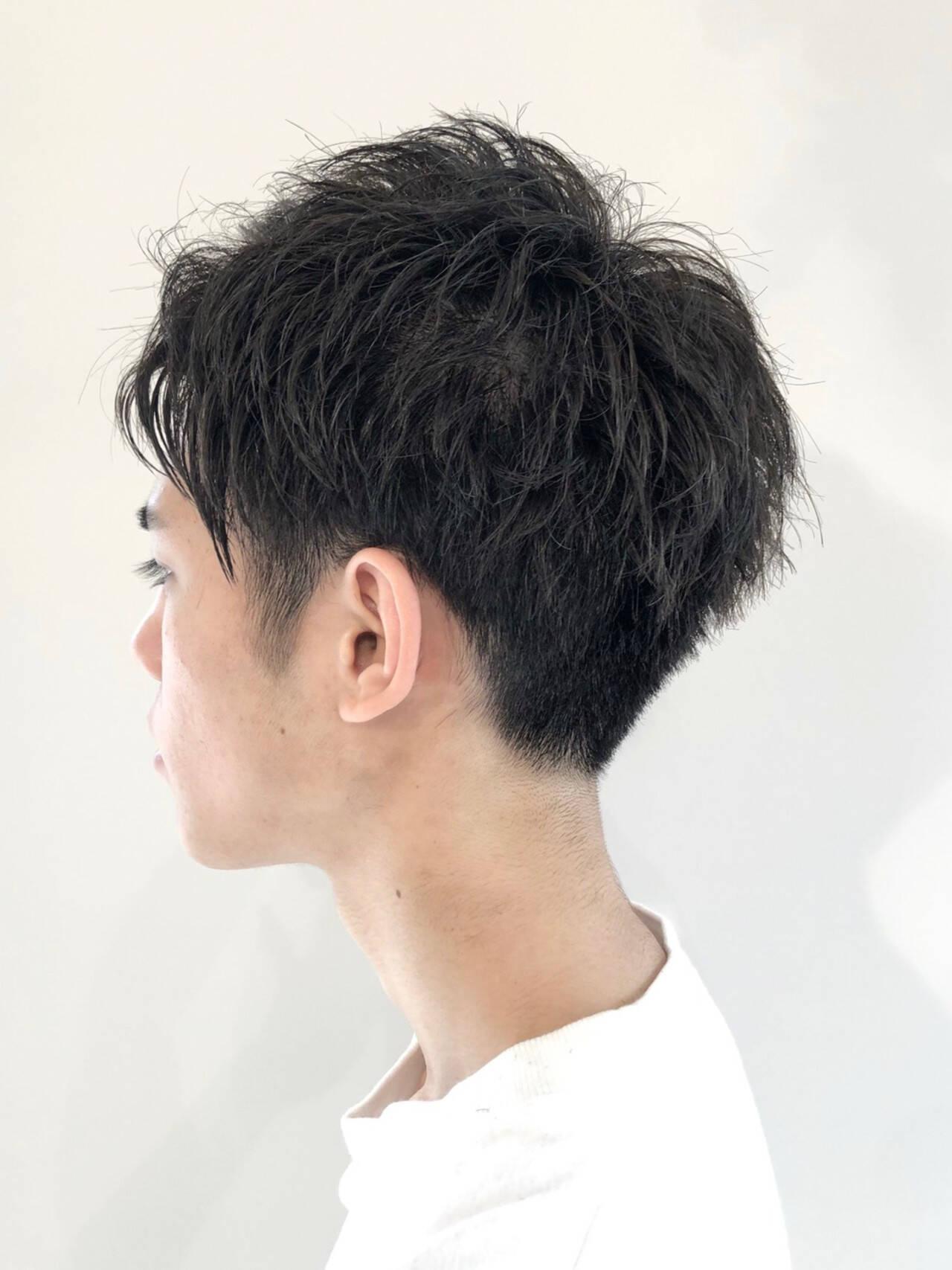 2ブロック ショート ナチュラル メンズスタイルヘアスタイルや髪型の写真・画像