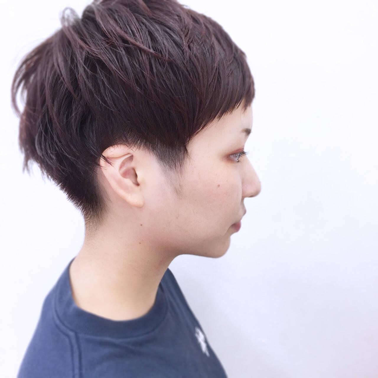 レッド 前髪あり ショート 大人かわいいヘアスタイルや髪型の写真・画像