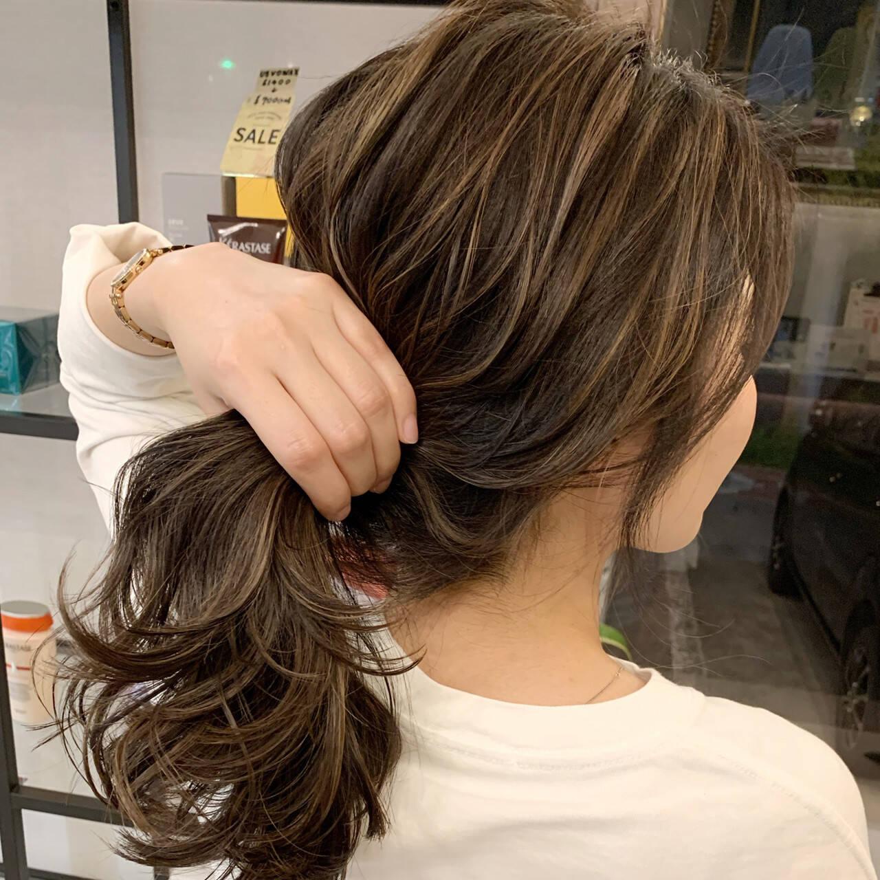 エクステ コントラストハイライト セミロング ストリートヘアスタイルや髪型の写真・画像