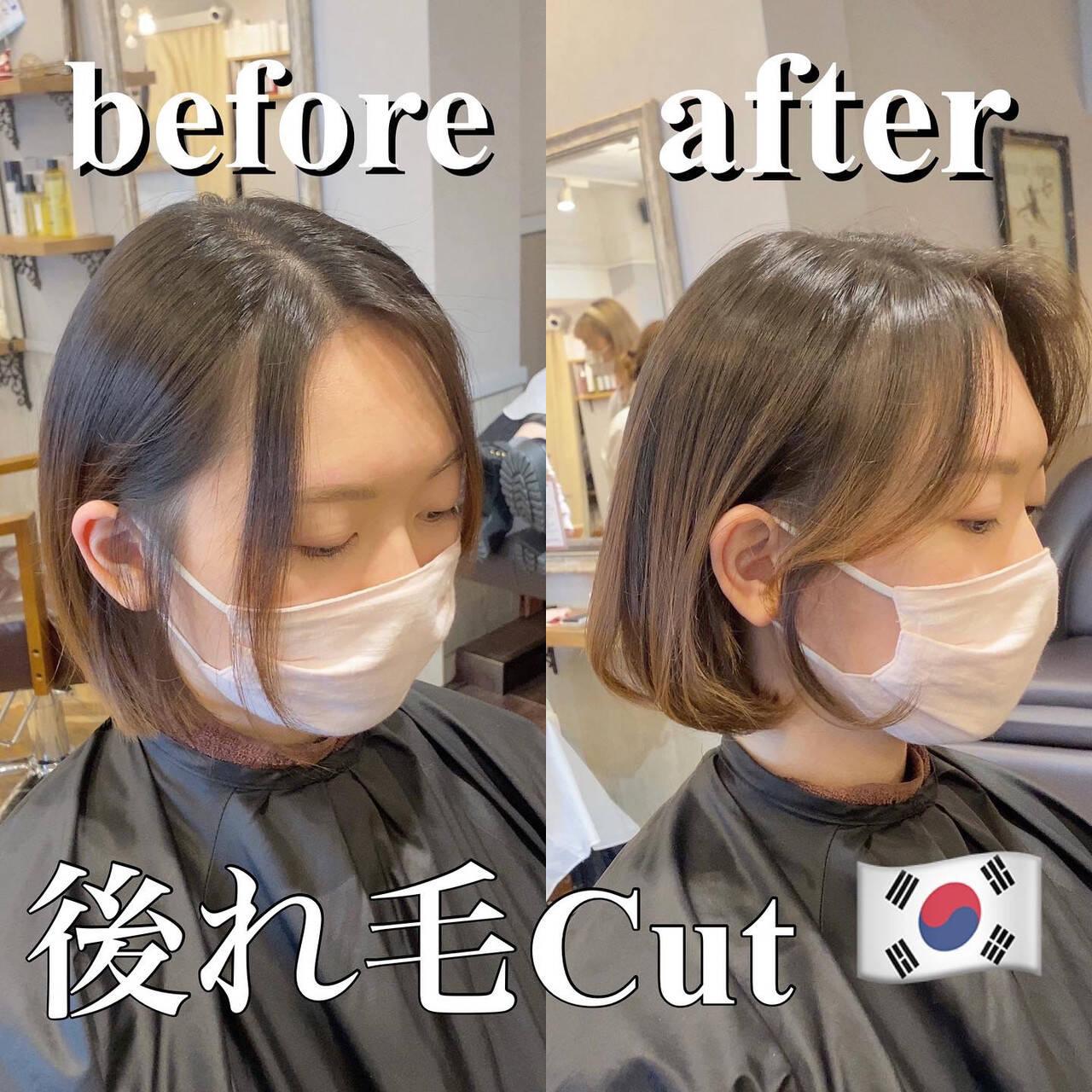 ヨシンモリ タンバルモリ 韓国ヘア セミロングヘアスタイルや髪型の写真・画像