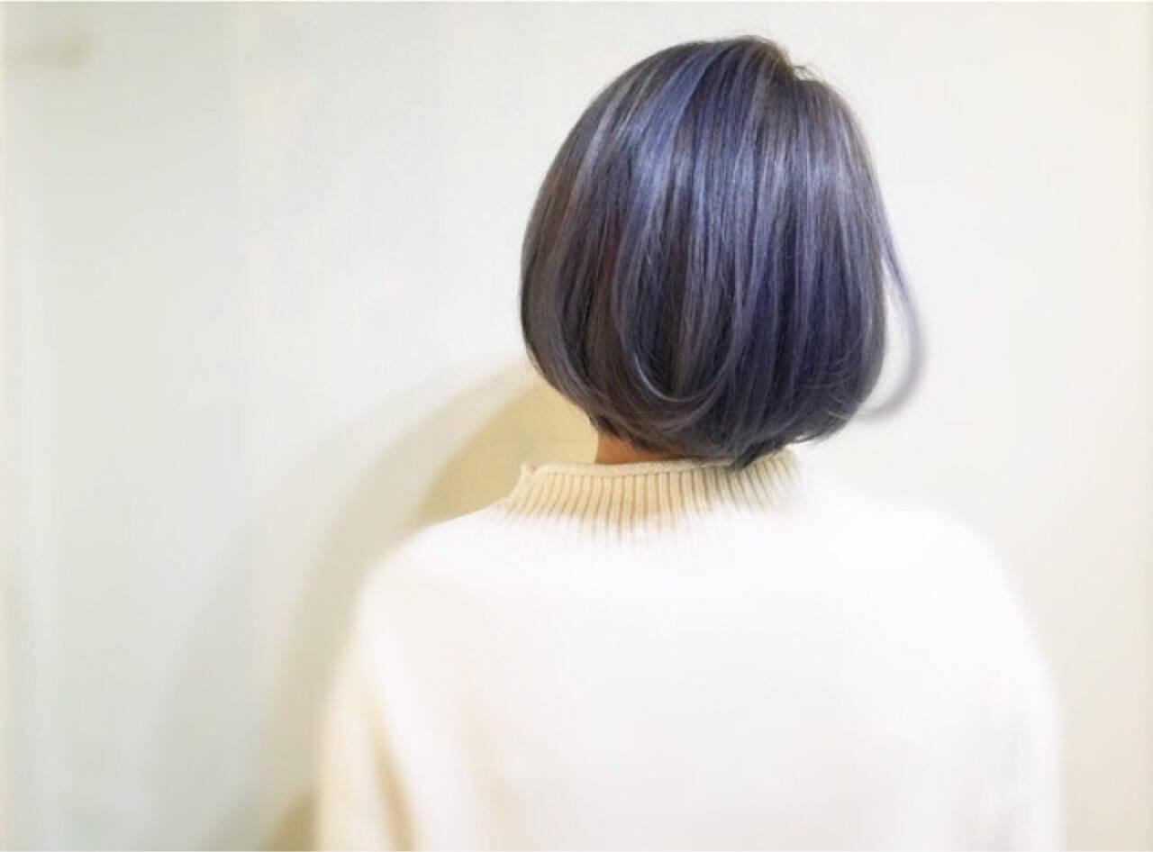 ブルージュ ストリート ブルーアッシュ ボブヘアスタイルや髪型の写真・画像