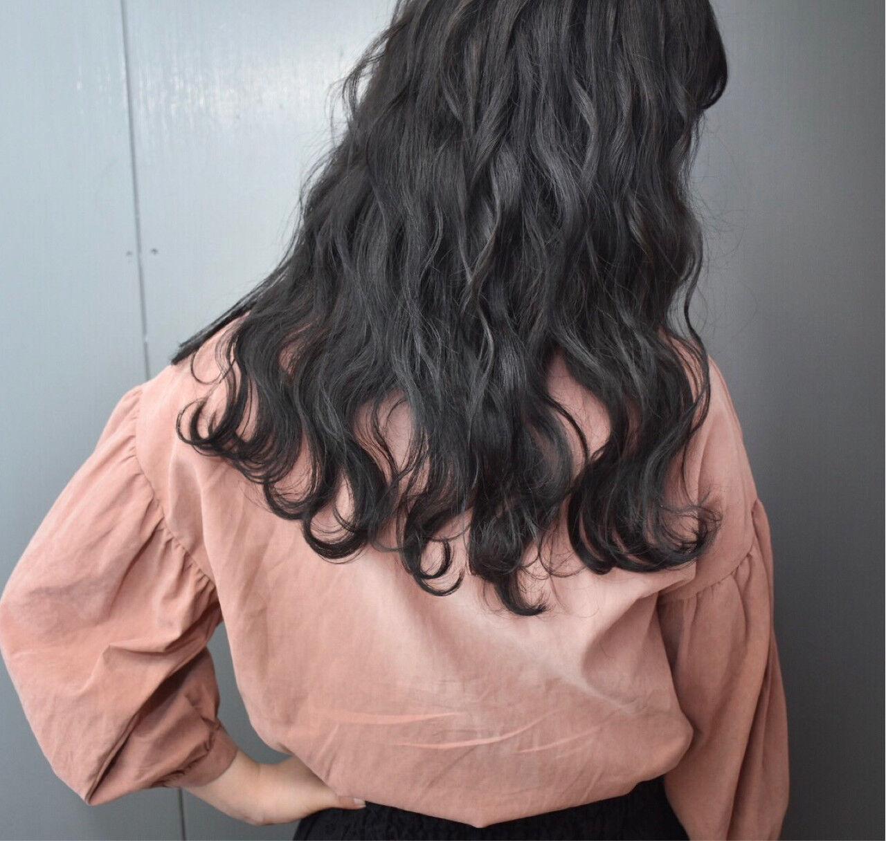 グレージュ ロング 暗髪 黒髪ヘアスタイルや髪型の写真・画像
