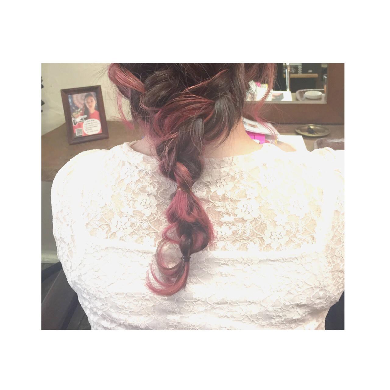 ショート セミロング ピンク ストリートヘアスタイルや髪型の写真・画像