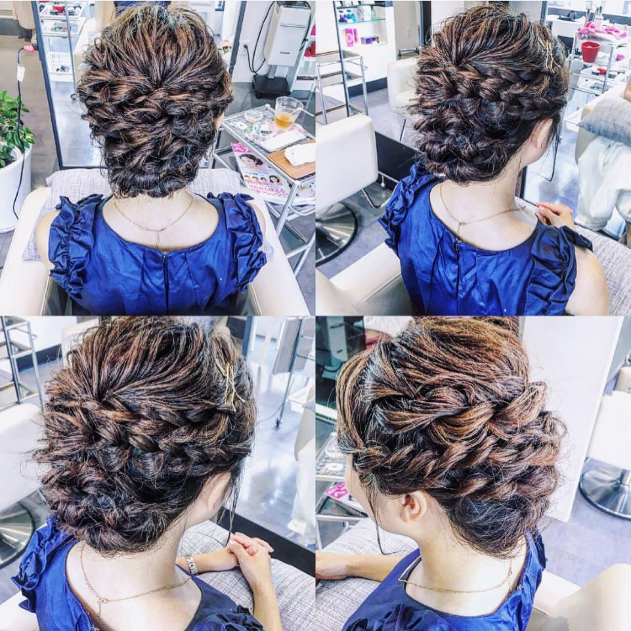 ミディアム 編み込み ヘアアレンジ 結婚式ヘアスタイルや髪型の写真・画像