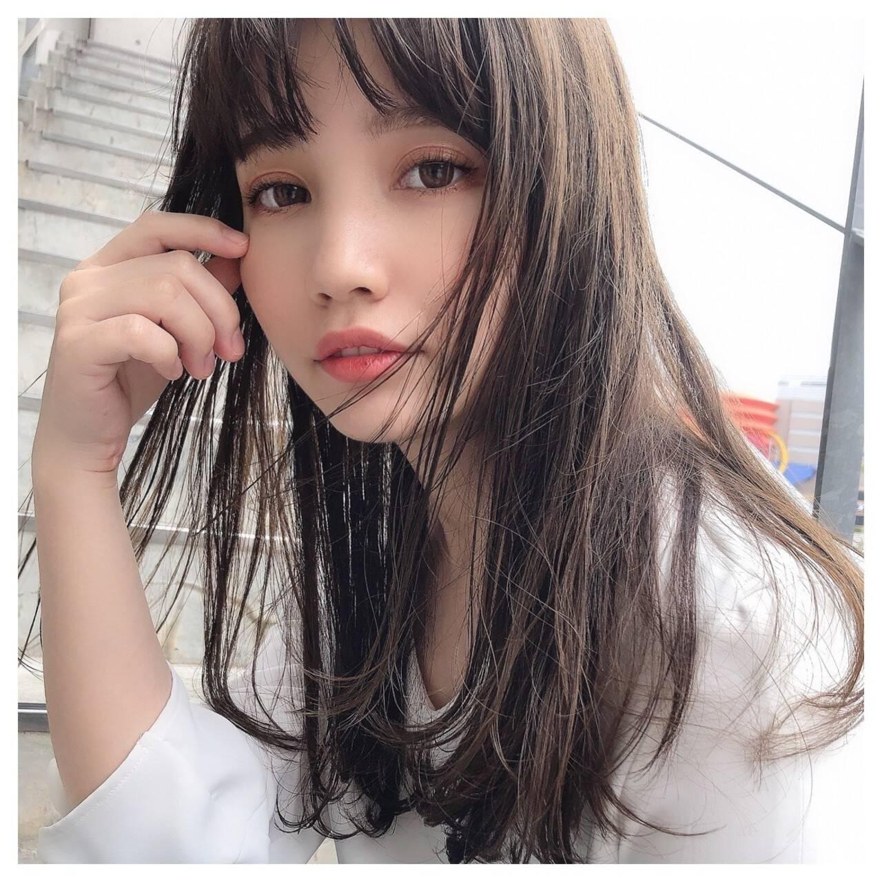 韓国ヘア 髪質改善カラー ロング 髪質改善トリートメントヘアスタイルや髪型の写真・画像