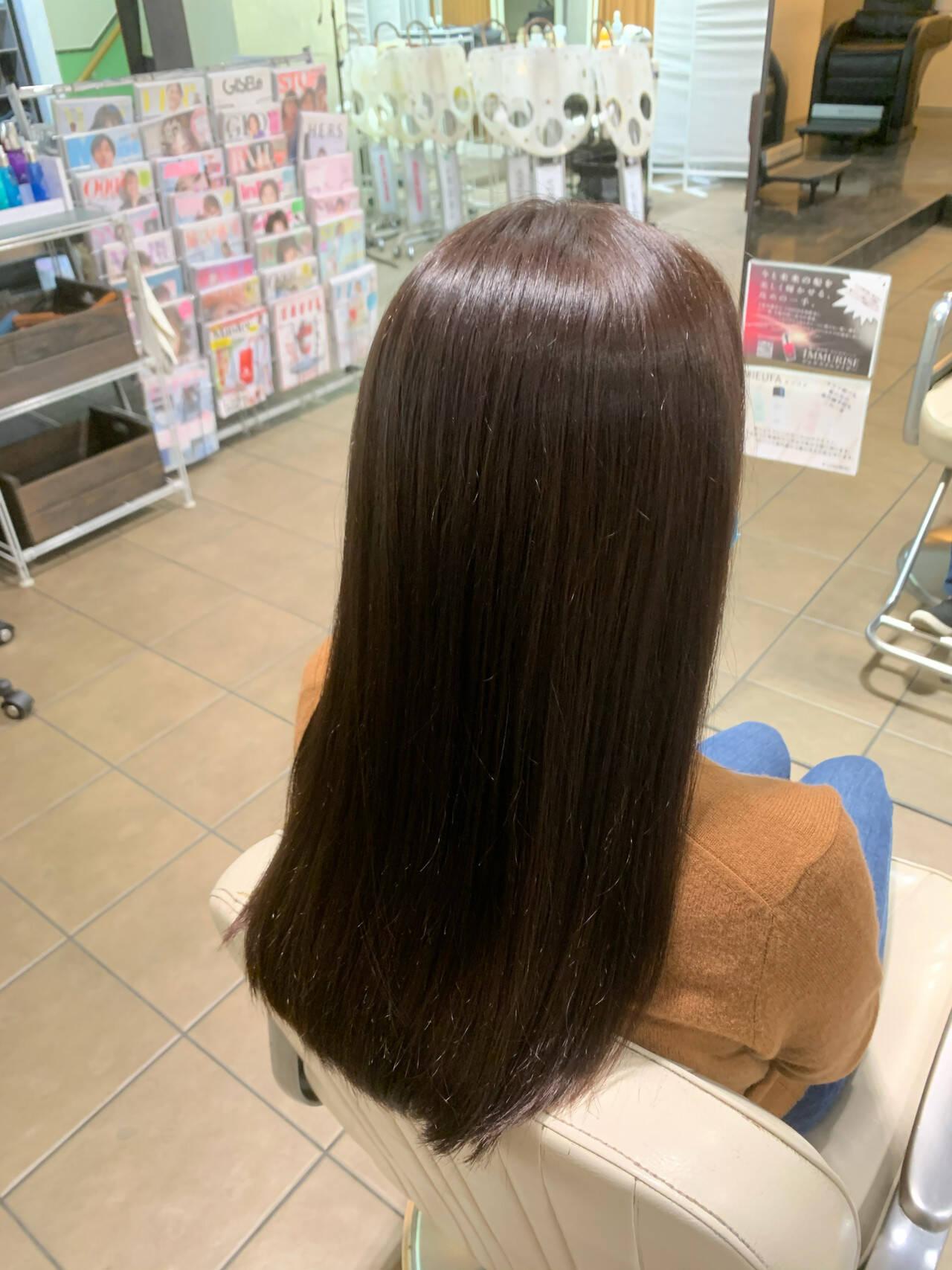 暗髪女子 ナチュラル ナチュラルブラウンカラー 艶髪ヘアスタイルや髪型の写真・画像