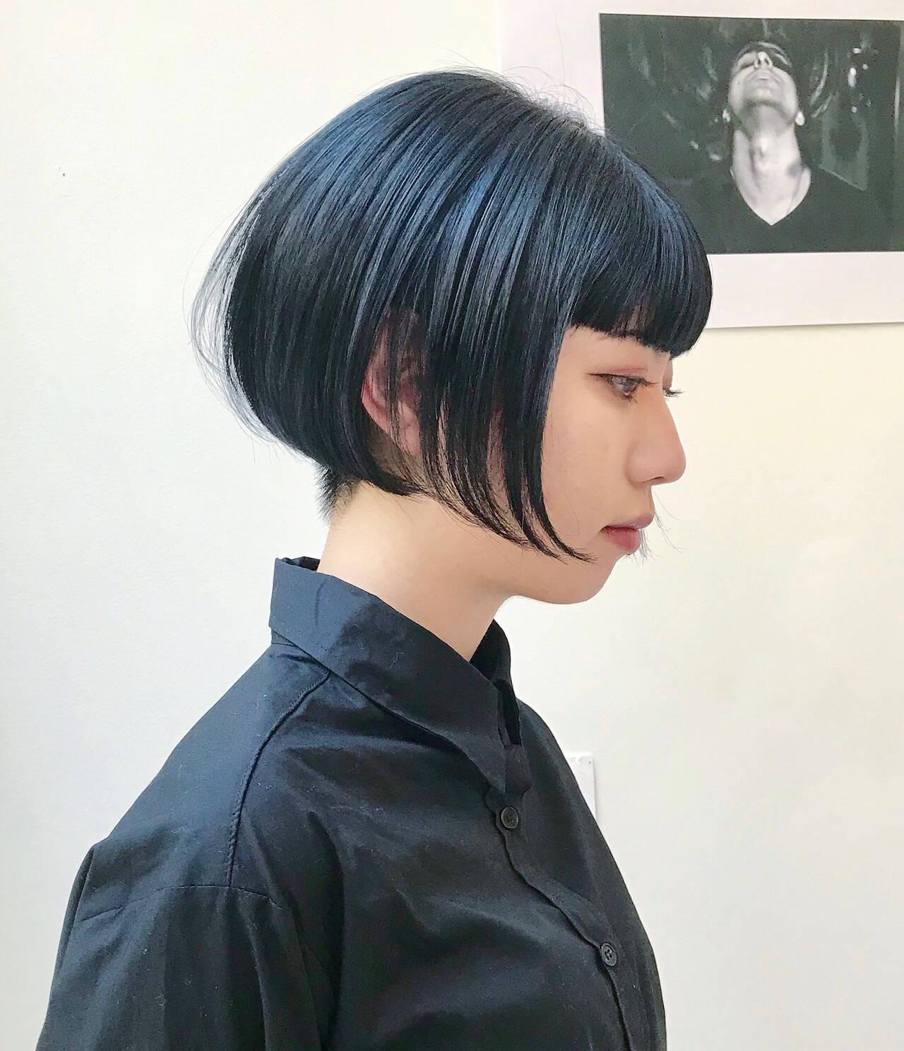 ハンサムショート モード ショート ショートボブヘアスタイルや髪型の写真・画像