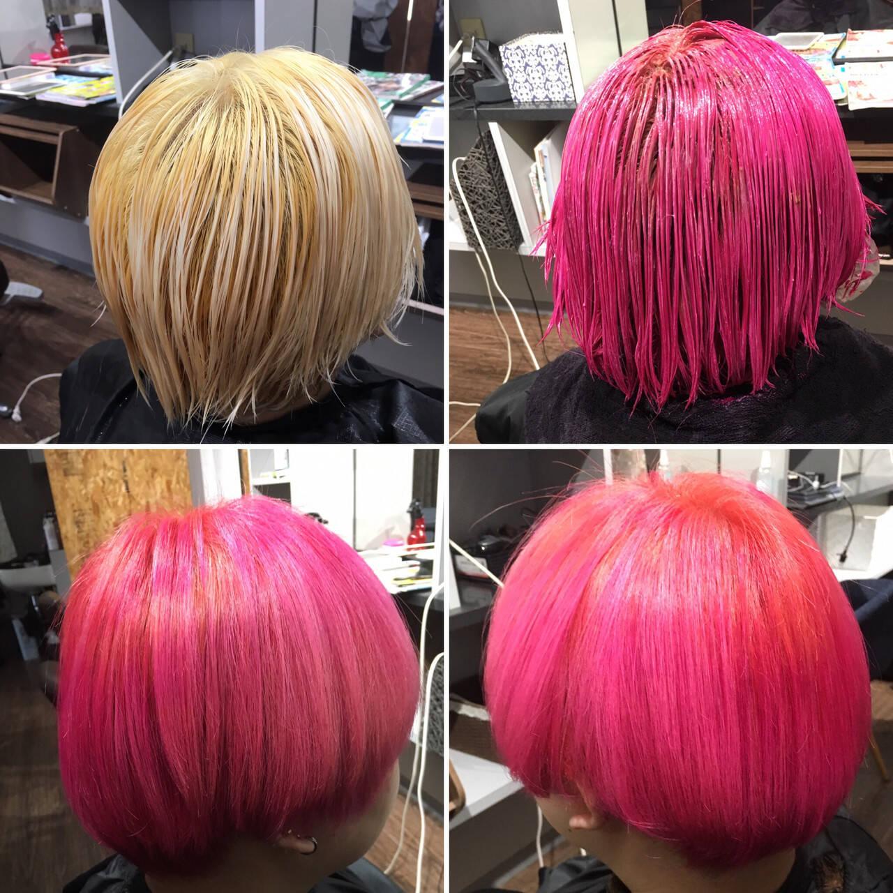 ホワイトブリーチ ショート ブリーチ コリアンピンクヘアスタイルや髪型の写真・画像