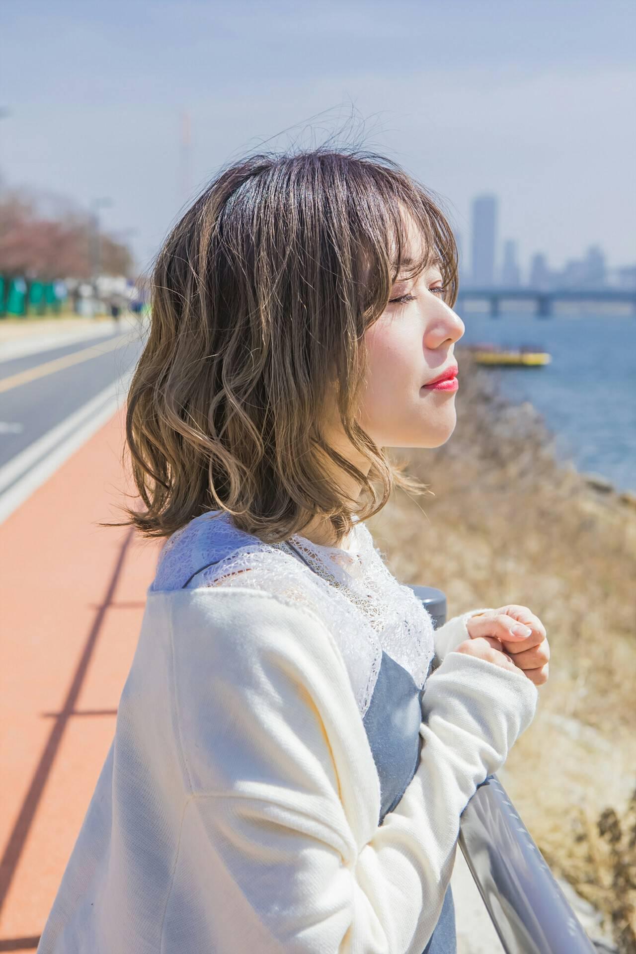 韓国ヘア ボブ パーマ 韓国風ヘアーヘアスタイルや髪型の写真・画像
