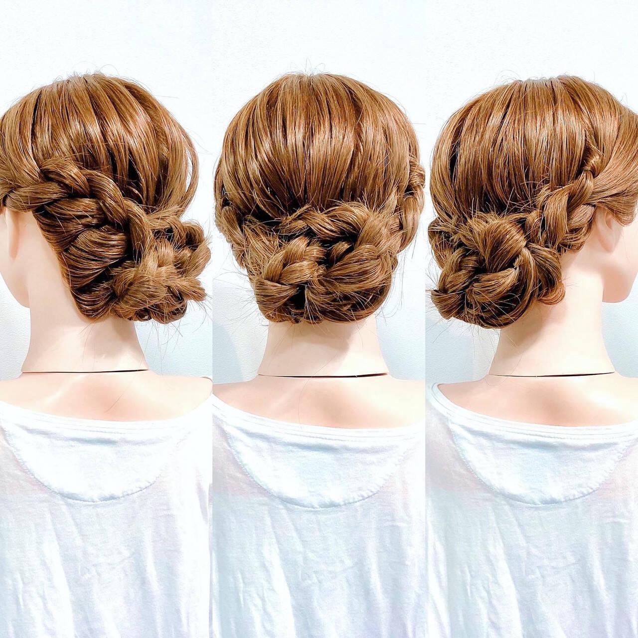 アップスタイル 三つ編み ヘアセット フェミニンヘアスタイルや髪型の写真・画像