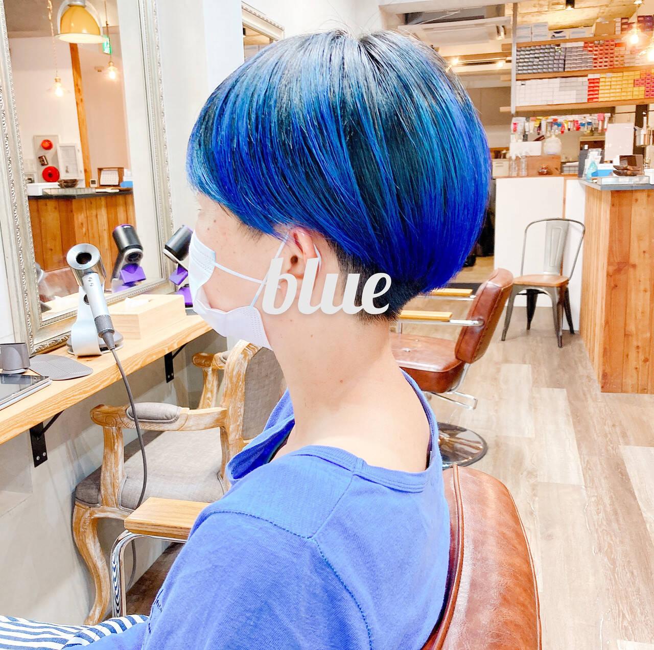 インナーブルー ベリーショート ブルー ストリートヘアスタイルや髪型の写真・画像