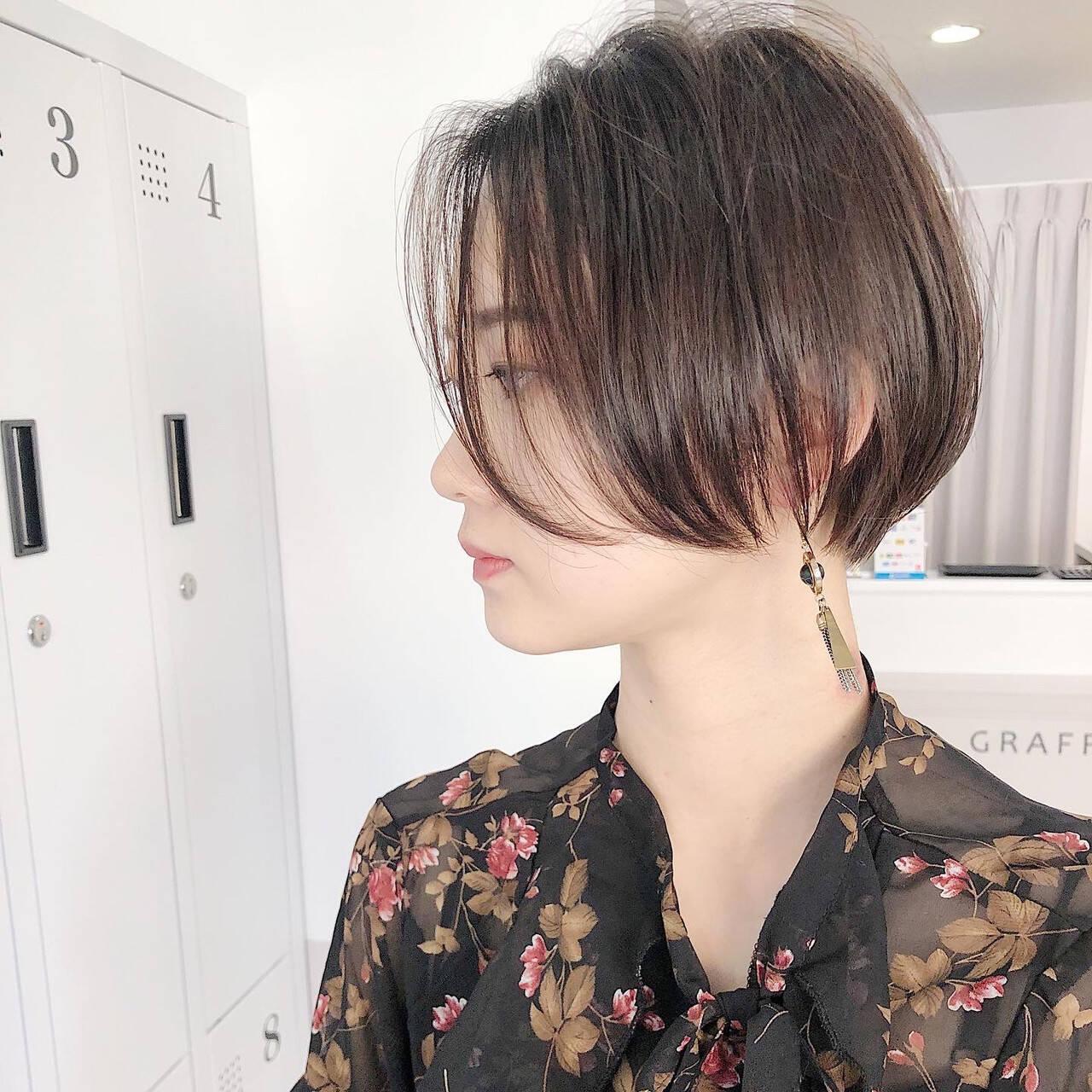 縮毛矯正 ストレート ナチュラル ショートボブヘアスタイルや髪型の写真・画像