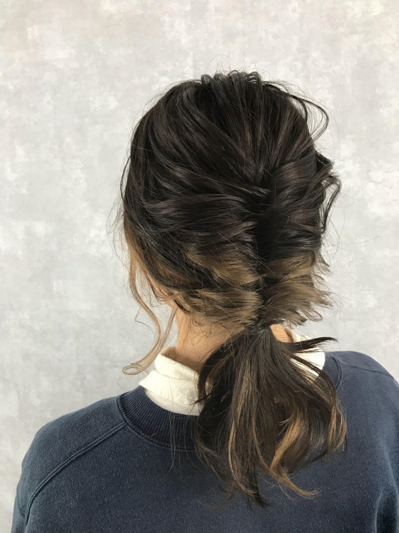 愛され ストリート セミロング ヘアアレンジヘアスタイルや髪型の写真・画像