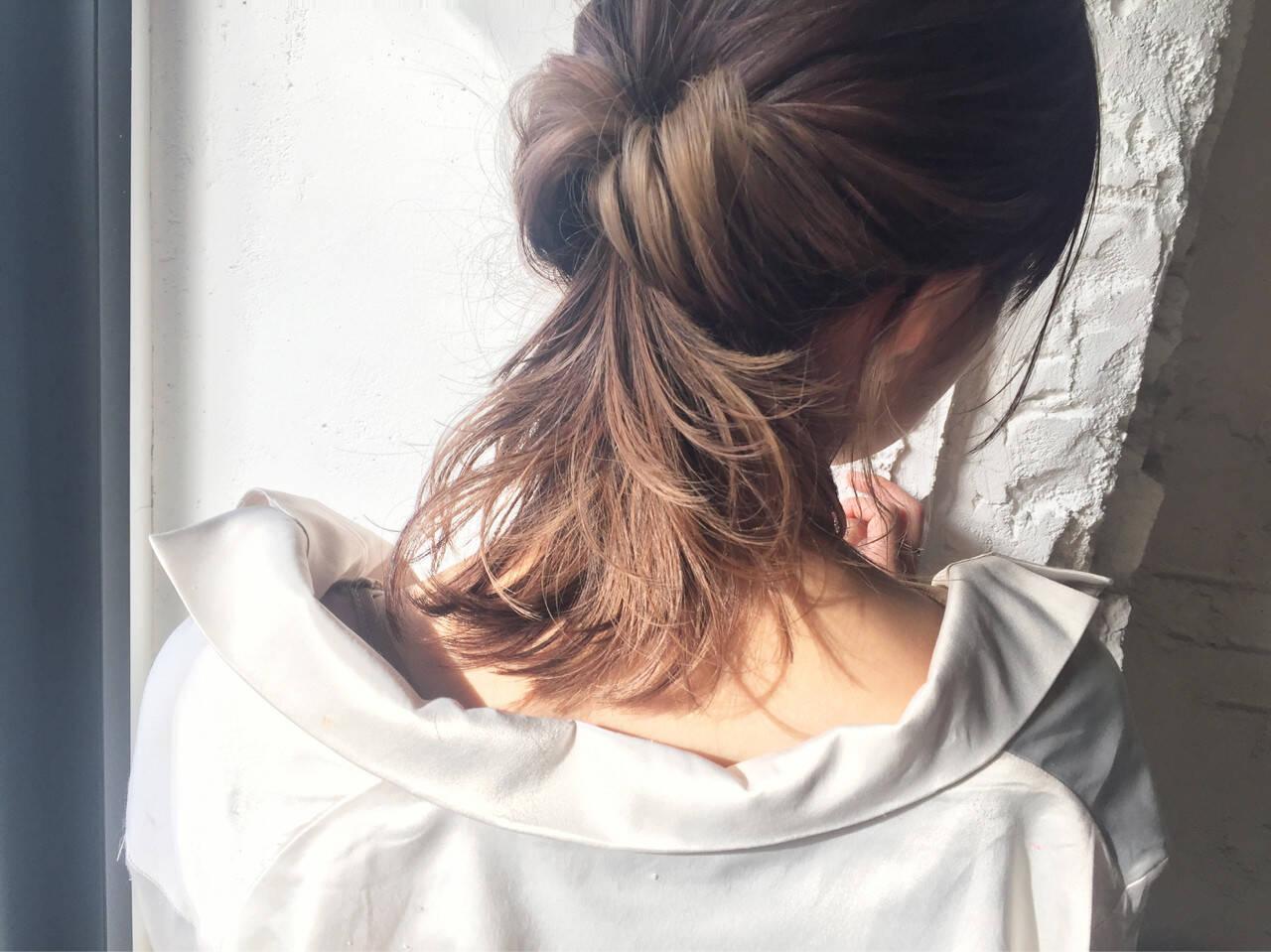 インナーカラー ナチュラル ミディアム ヘアアレンジヘアスタイルや髪型の写真・画像