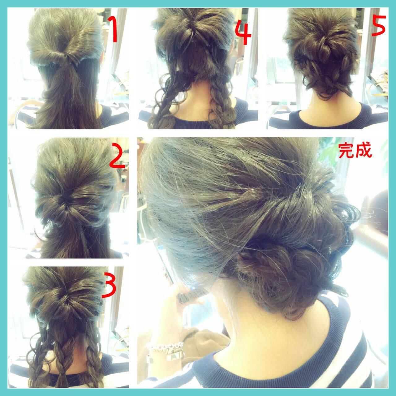 セミロング ショート 簡単ヘアアレンジ ヘアアレンジヘアスタイルや髪型の写真・画像