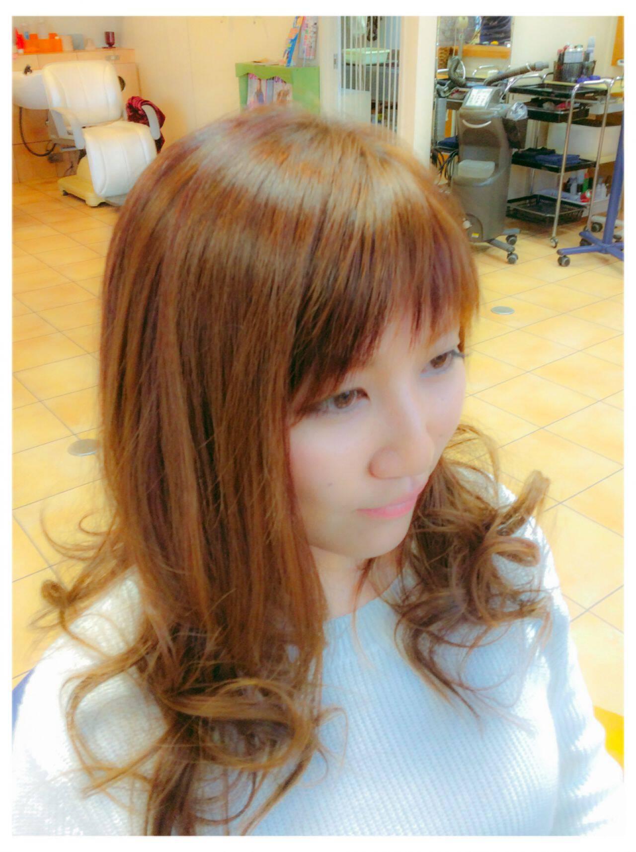ロング ダブルバングヘアスタイルや髪型の写真・画像