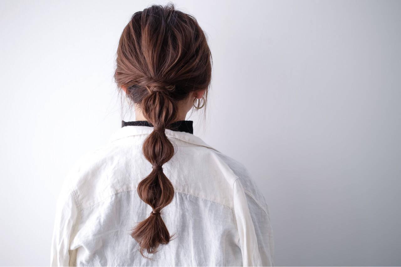 ヘアアレンジ 簡単ヘアアレンジ セミロング ベージュヘアスタイルや髪型の写真・画像