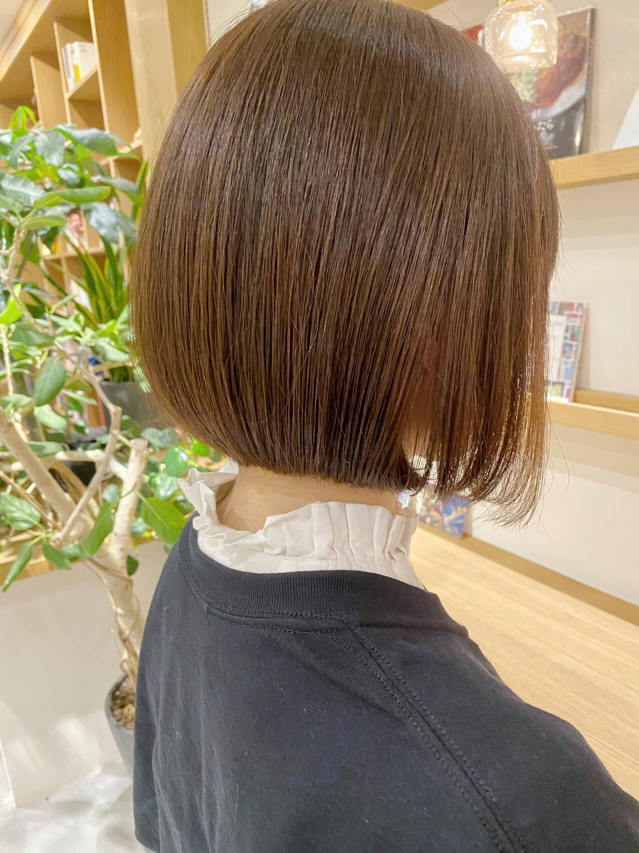 ナチュラル ミニボブ ボブ ショートヘアヘアスタイルや髪型の写真・画像