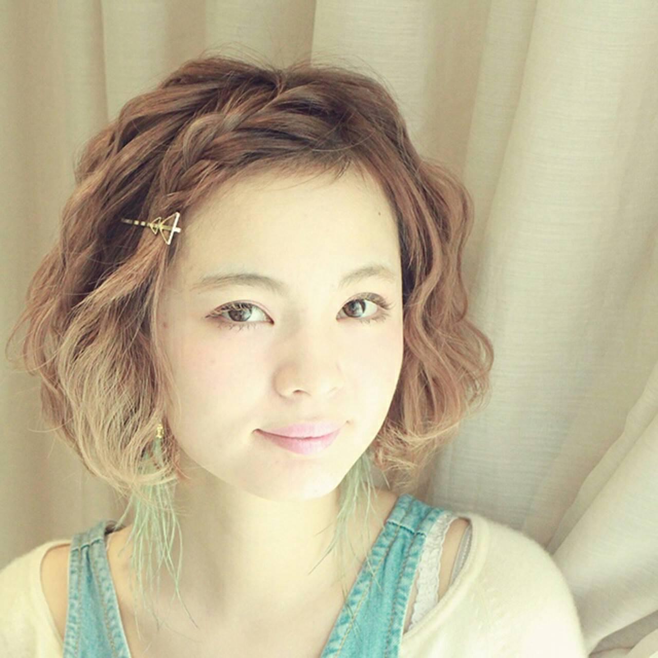 ヘアアレンジ グラデーションカラー 簡単ヘアアレンジ 前髪ありヘアスタイルや髪型の写真・画像