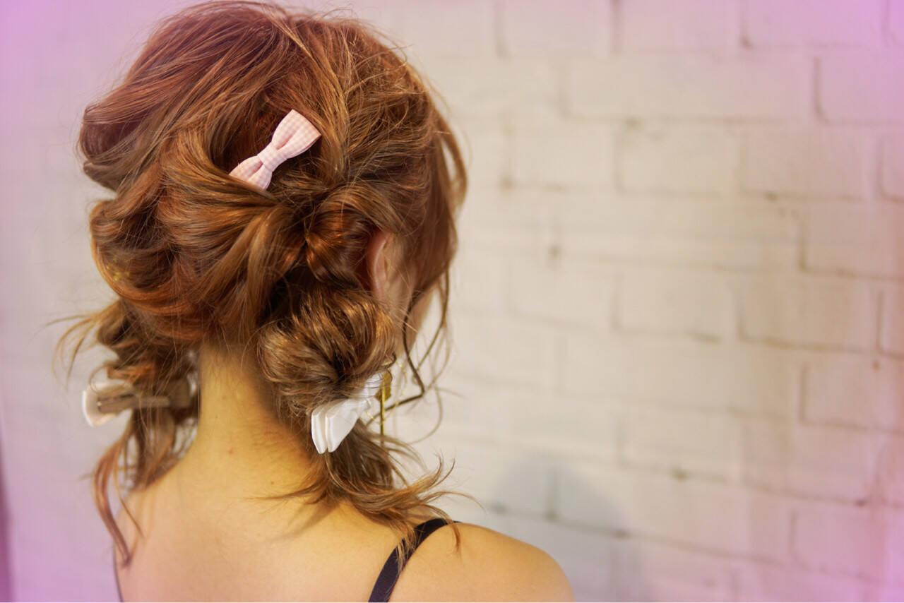 ショート ツインテール くせ毛風 簡単ヘアアレンジヘアスタイルや髪型の写真・画像