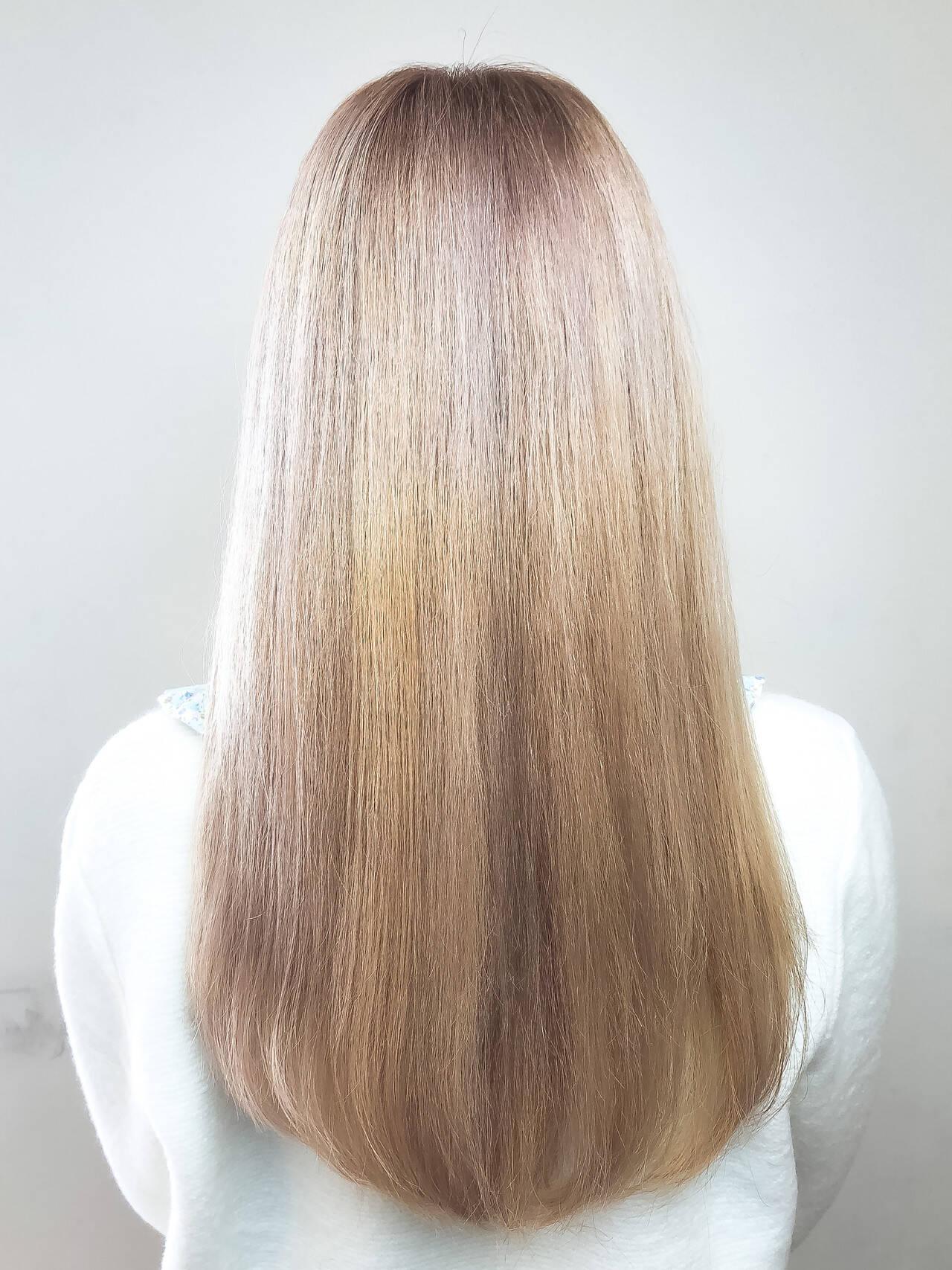 ブリーチ 外国人風 ハイトーン ロングヘアスタイルや髪型の写真・画像