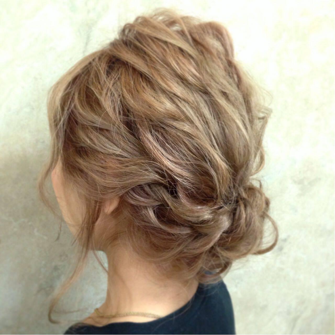 簡単ヘアアレンジ ショート 編み込み アップスタイルヘアスタイルや髪型の写真・画像
