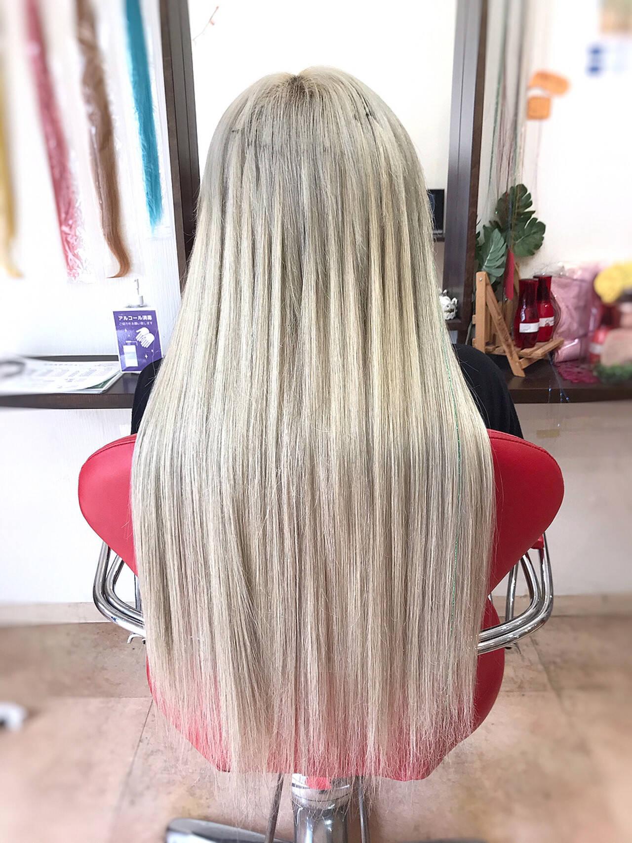 韓国ヘア ストリート ロング ハイトーンヘアスタイルや髪型の写真・画像
