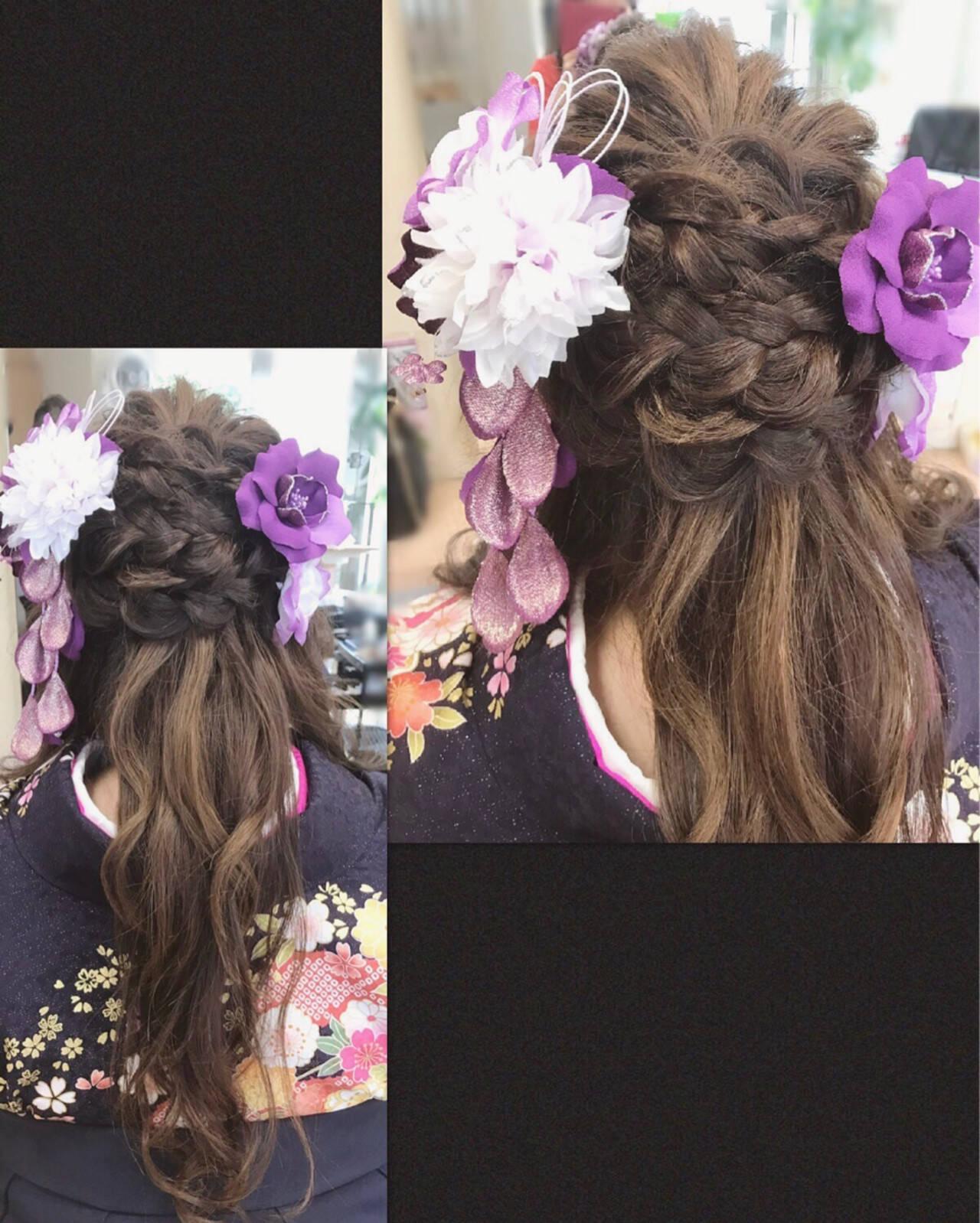 ヘアアレンジ 謝恩会 ハーフアップ ロングヘアスタイルや髪型の写真・画像