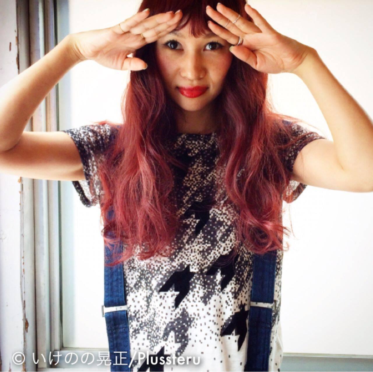 ストリート パーマ ピンク レッドヘアスタイルや髪型の写真・画像