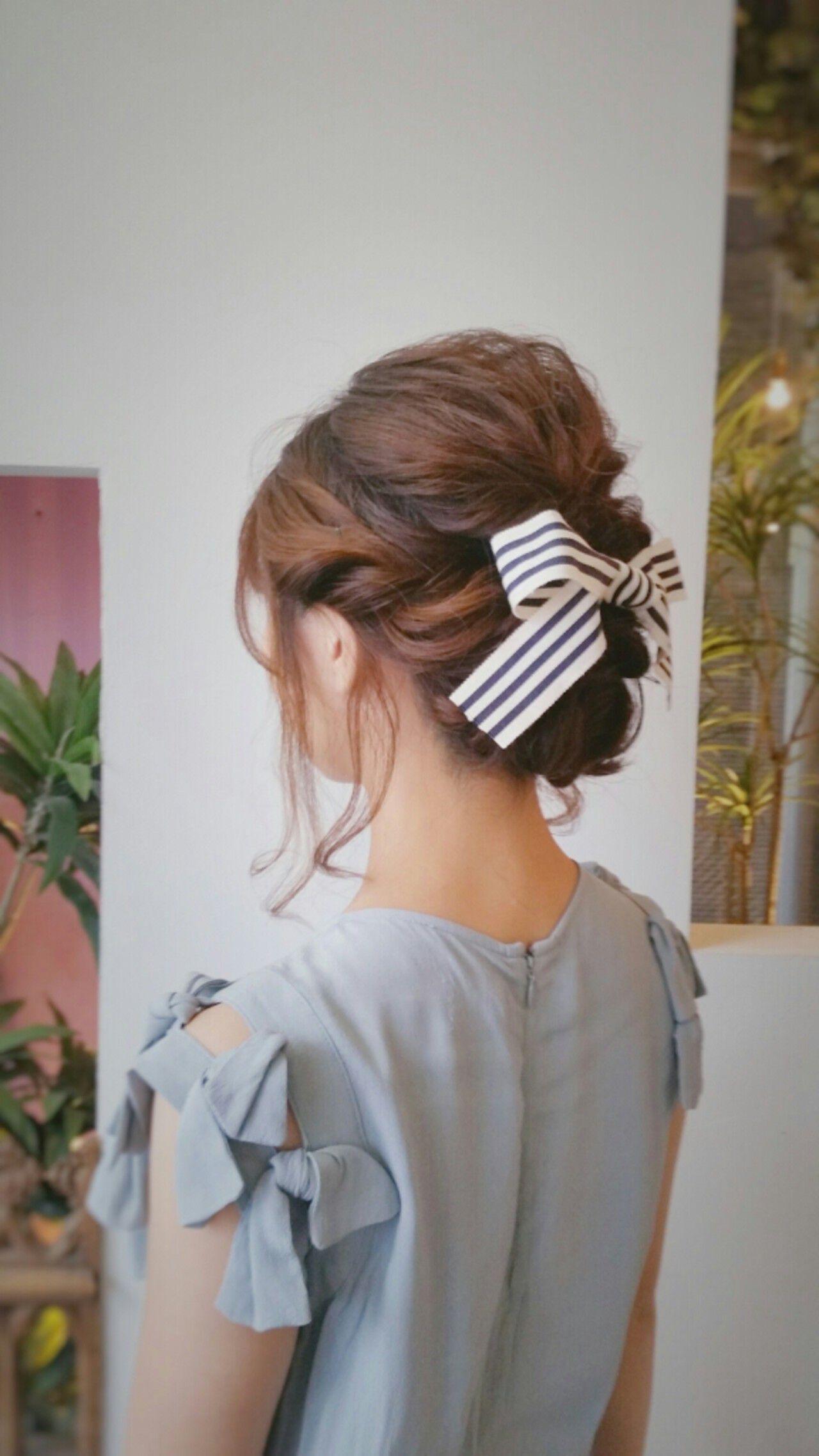 結婚式 セミロング 編み込み ヘアアレンジヘアスタイルや髪型の写真・画像