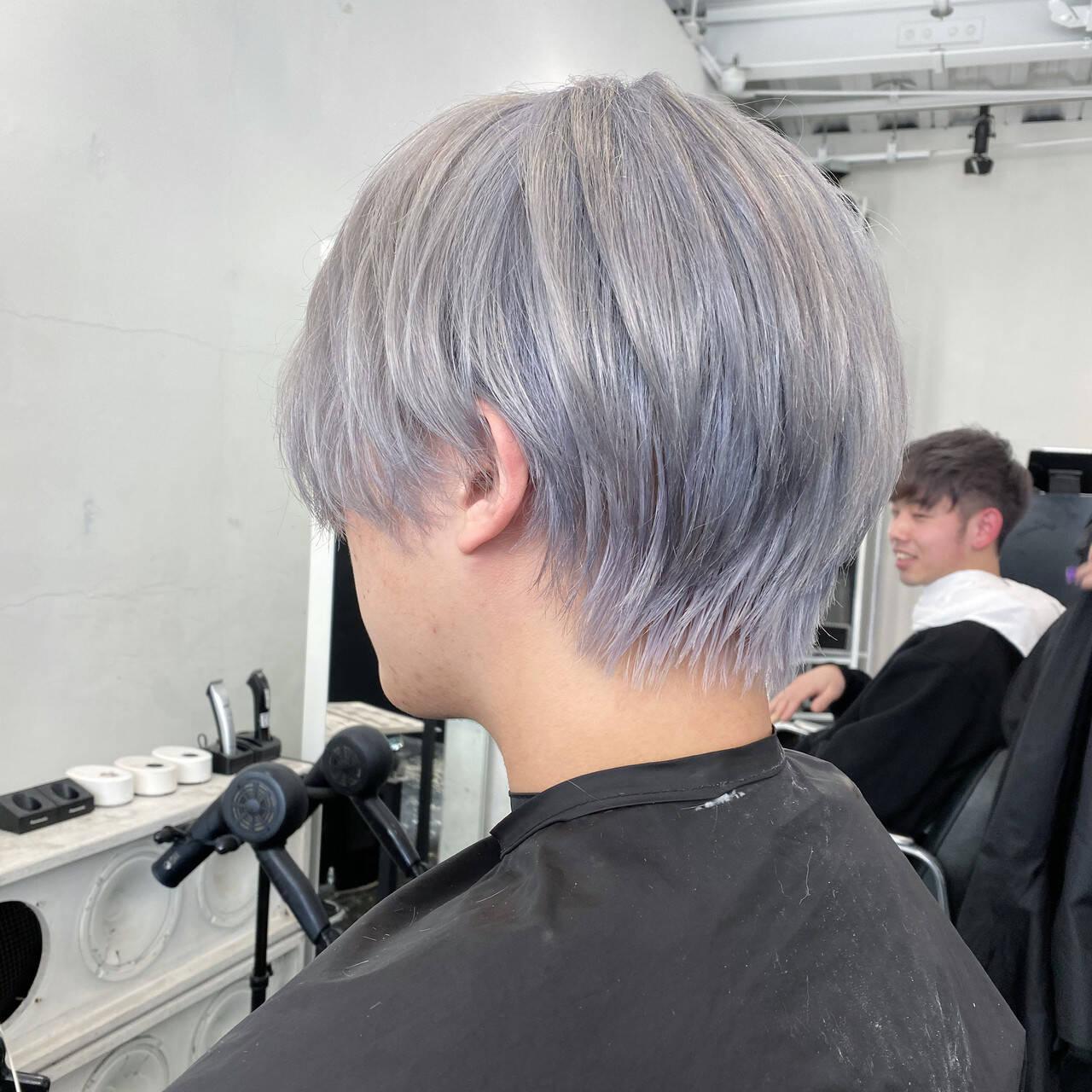 メンズカット バレイヤージュ エレガント メンズカラーヘアスタイルや髪型の写真・画像