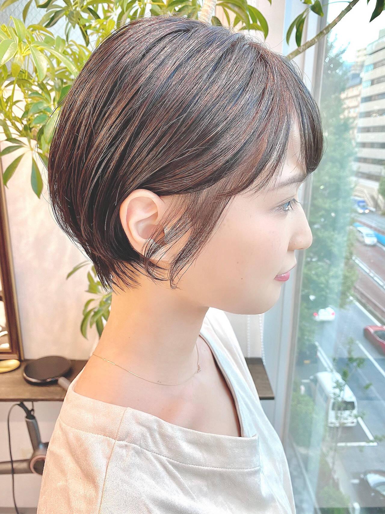 ショートボブ ショート デート 大人かわいいヘアスタイルや髪型の写真・画像