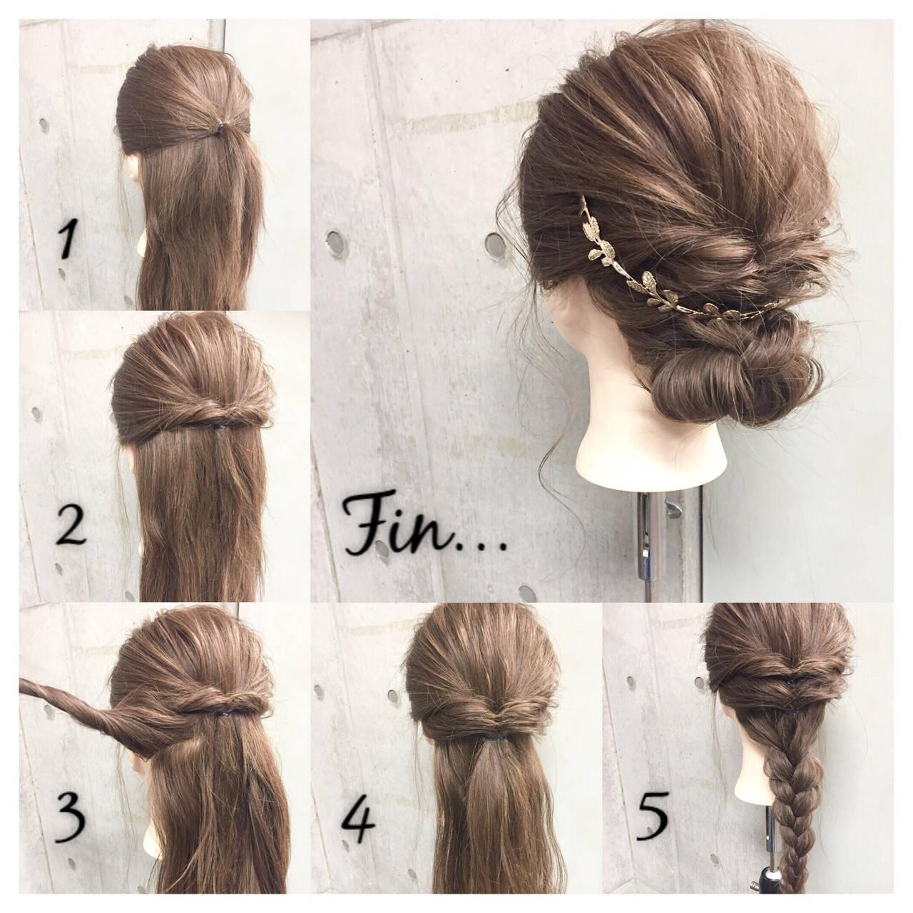 大人女子 セミロング 簡単ヘアアレンジ くるりんぱヘアスタイルや髪型の写真・画像