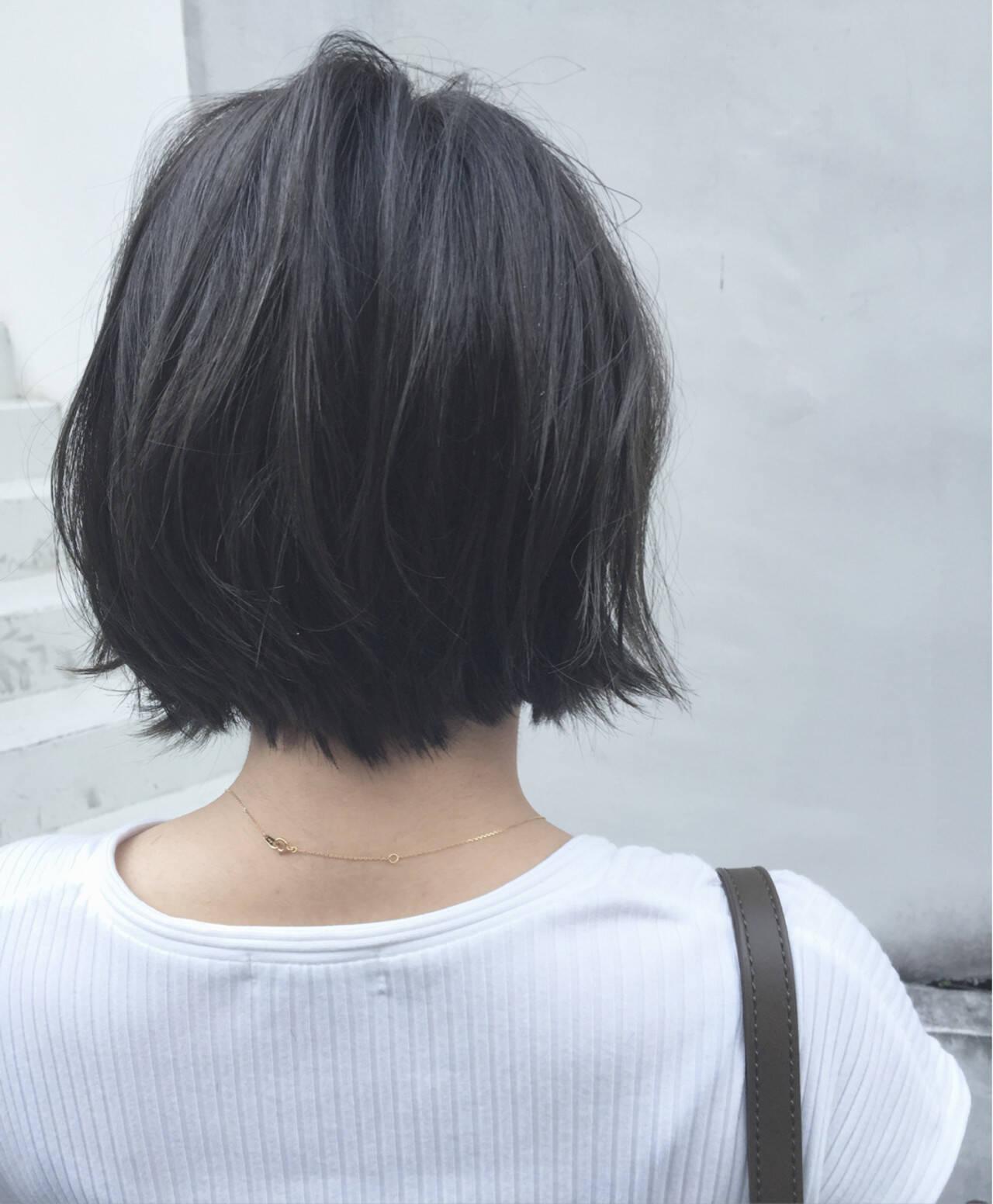 大人かわいい ボブ 抜け感 ナチュラルヘアスタイルや髪型の写真・画像