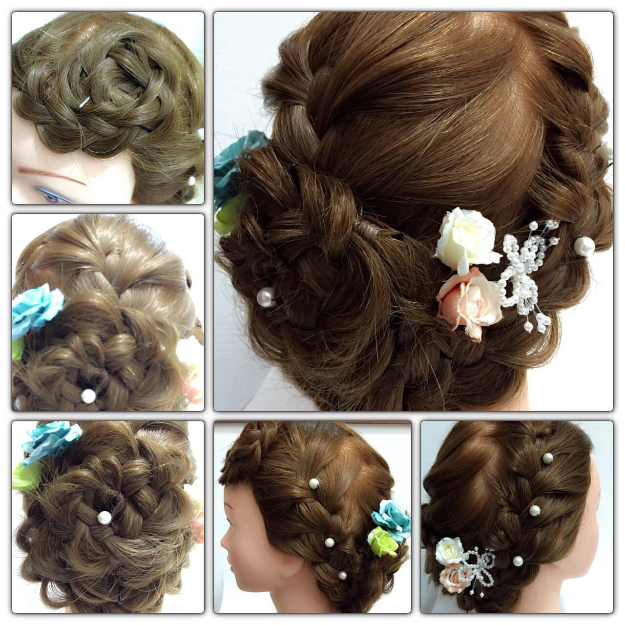 ブライダル くるりんぱ 編み込み 三つ編みヘアスタイルや髪型の写真・画像