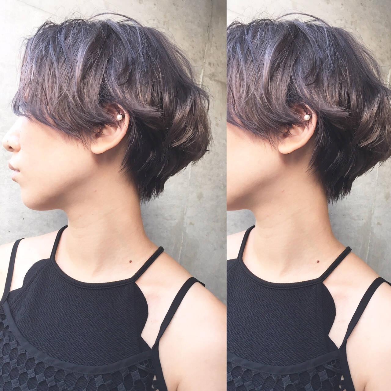 ラベンダーアッシュ ストリート ショート グレージュヘアスタイルや髪型の写真・画像