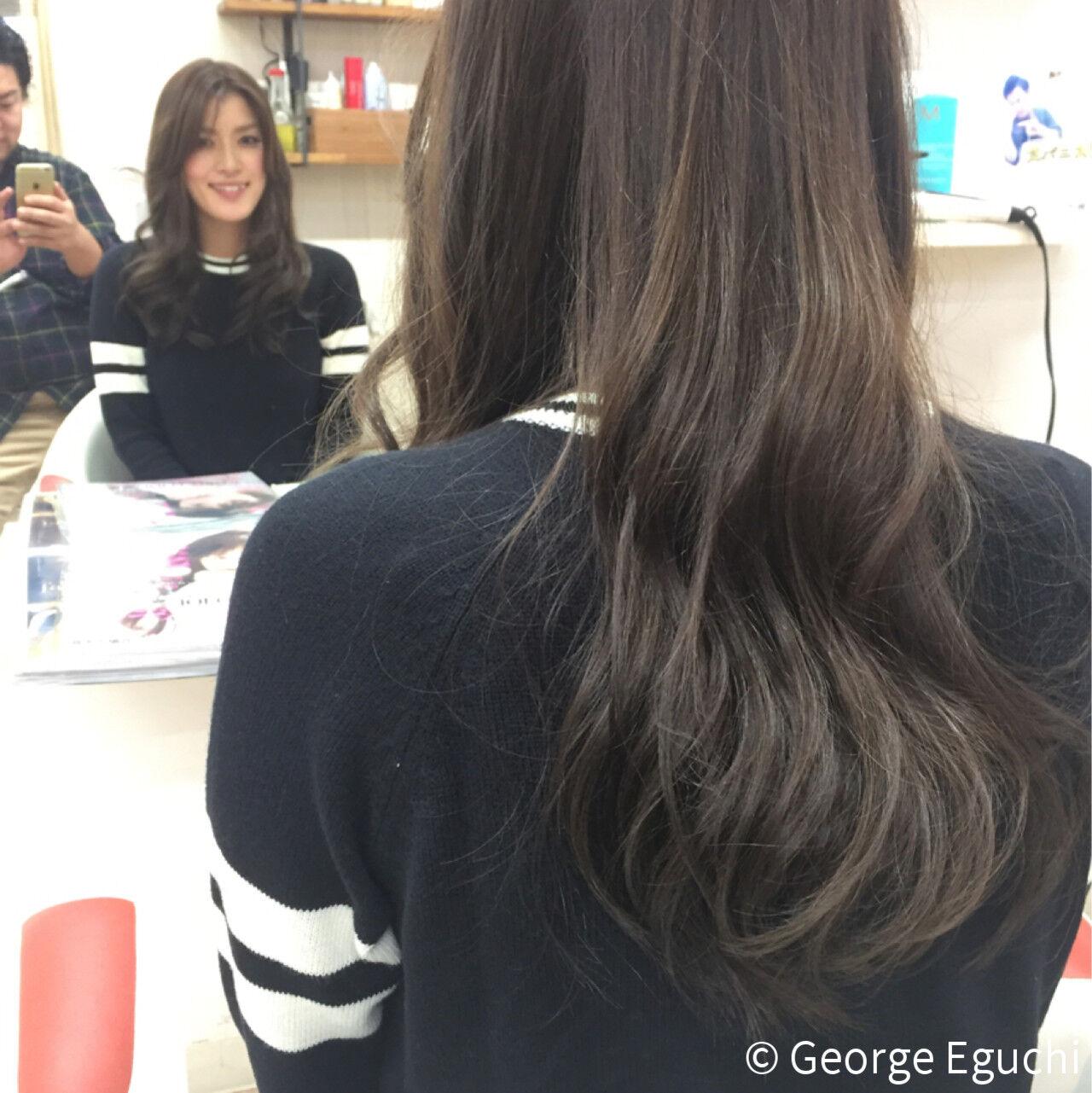 暗髪 ロング ストレート ナチュラルヘアスタイルや髪型の写真・画像