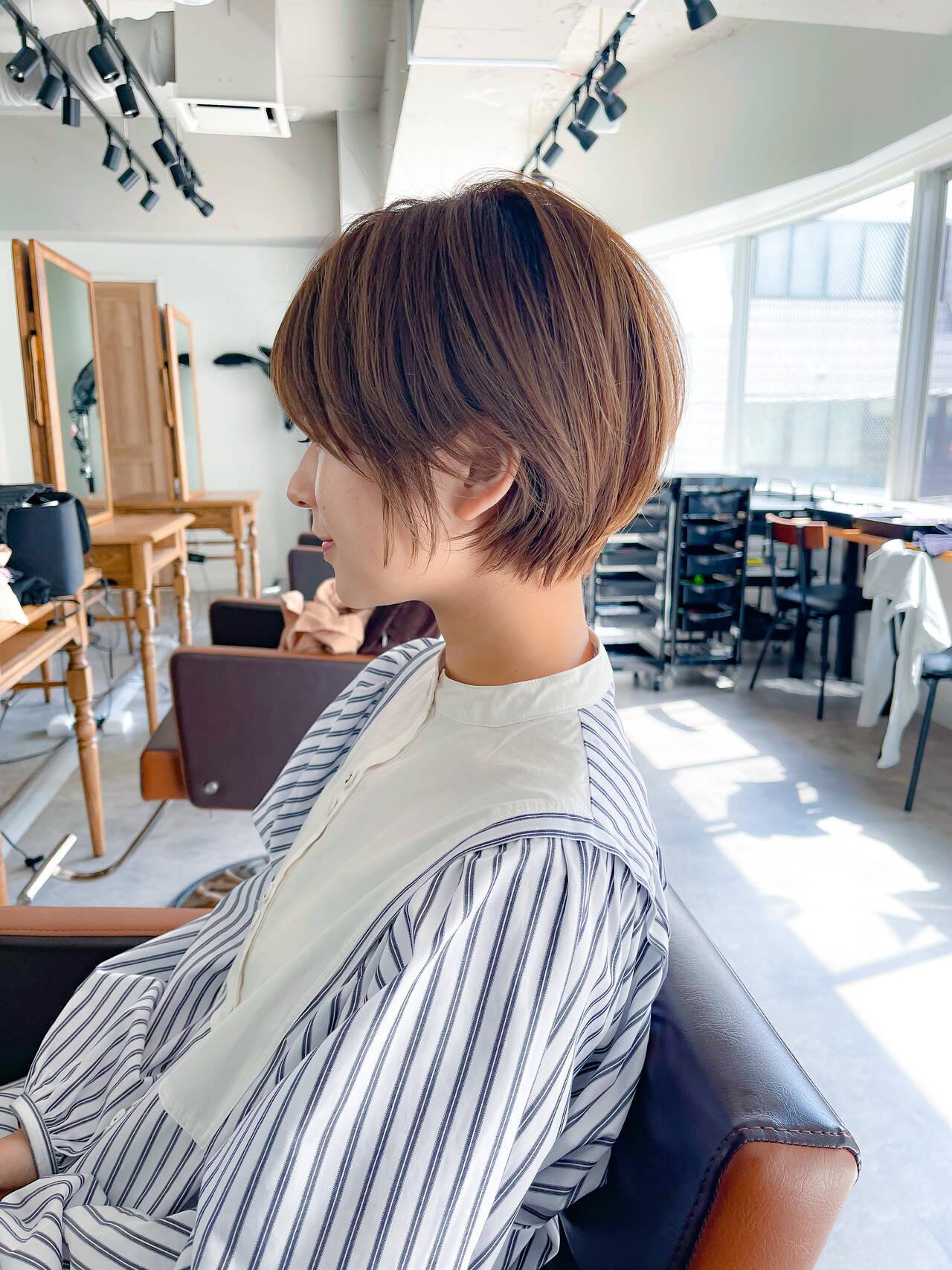 小顔ショート ナチュラル 透明感カラー ベリーショートヘアスタイルや髪型の写真・画像