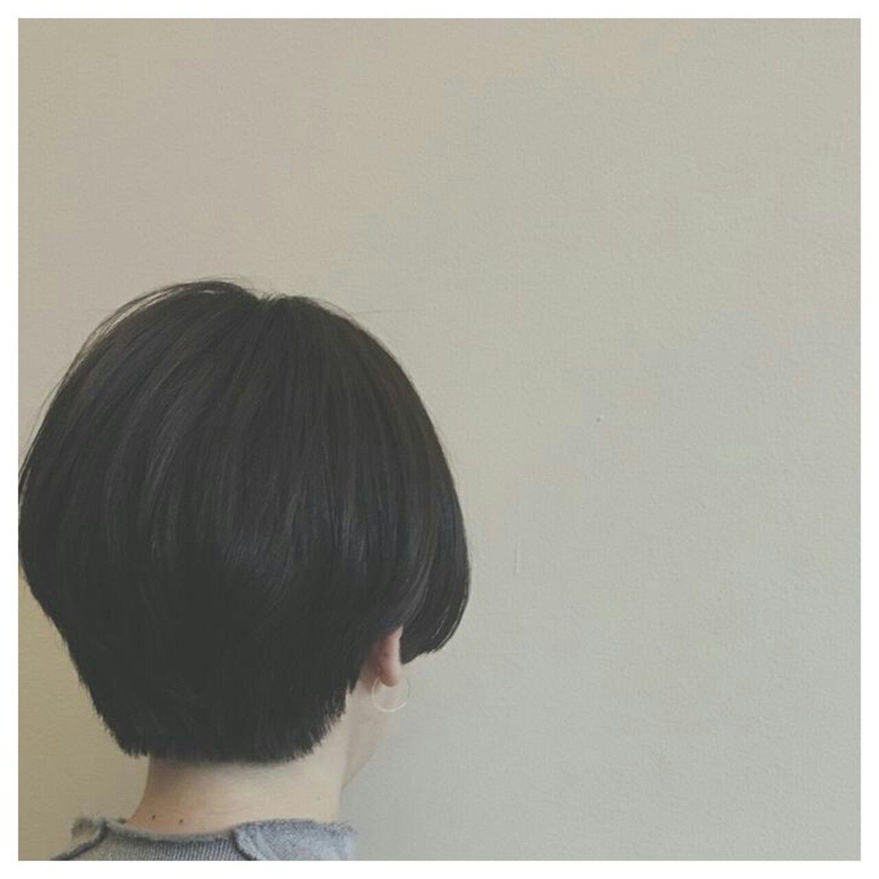ナチュラル 暗髪 ショート ボブヘアスタイルや髪型の写真・画像
