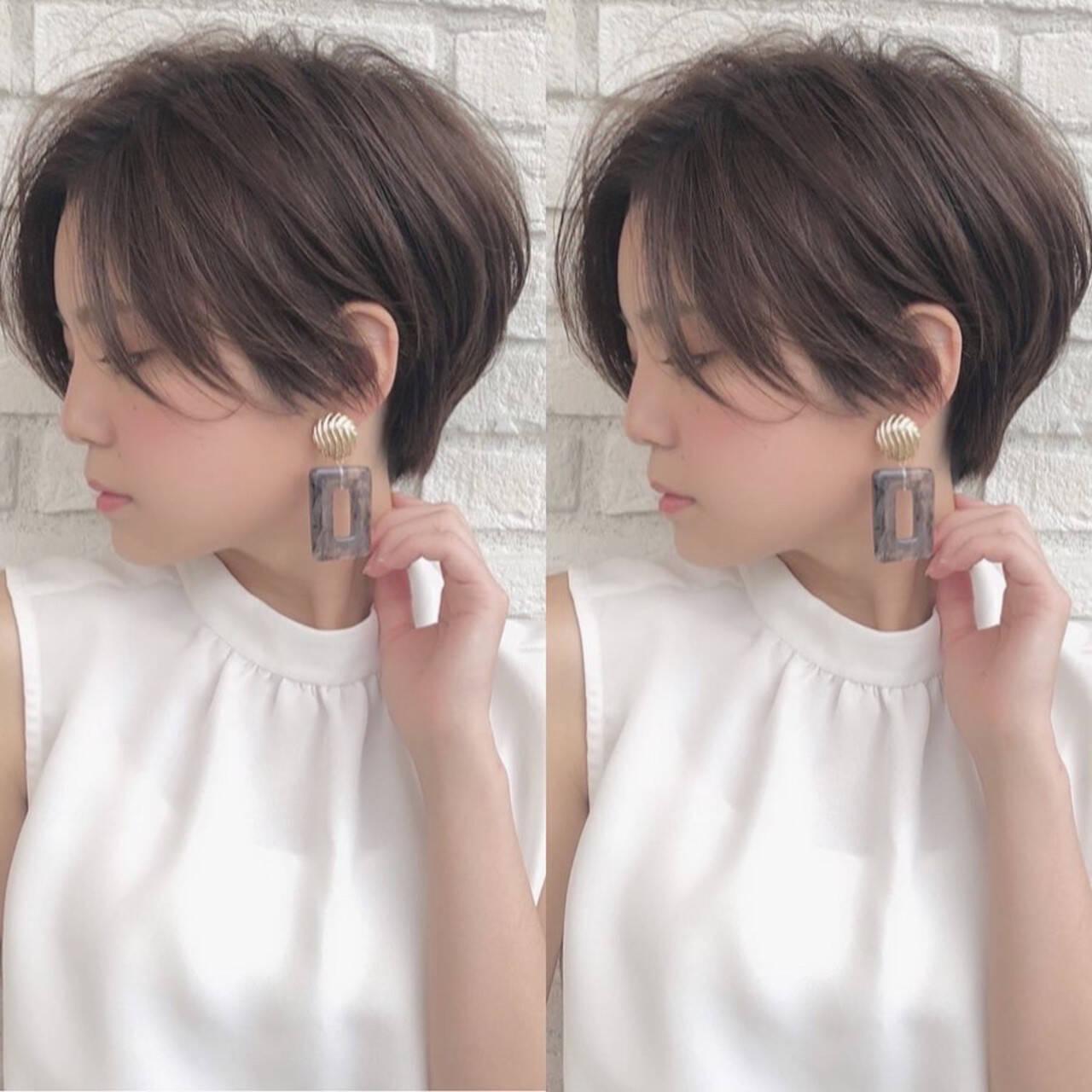ショート ナチュラル ショートボブ ベリーショートヘアスタイルや髪型の写真・画像