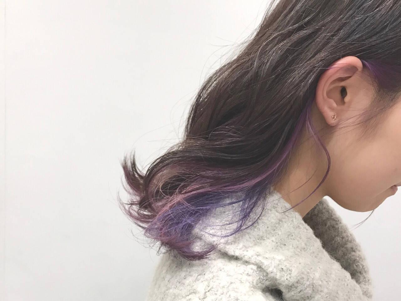 ストリート グラデーションカラー ミディアム インナーカラーヘアスタイルや髪型の写真・画像