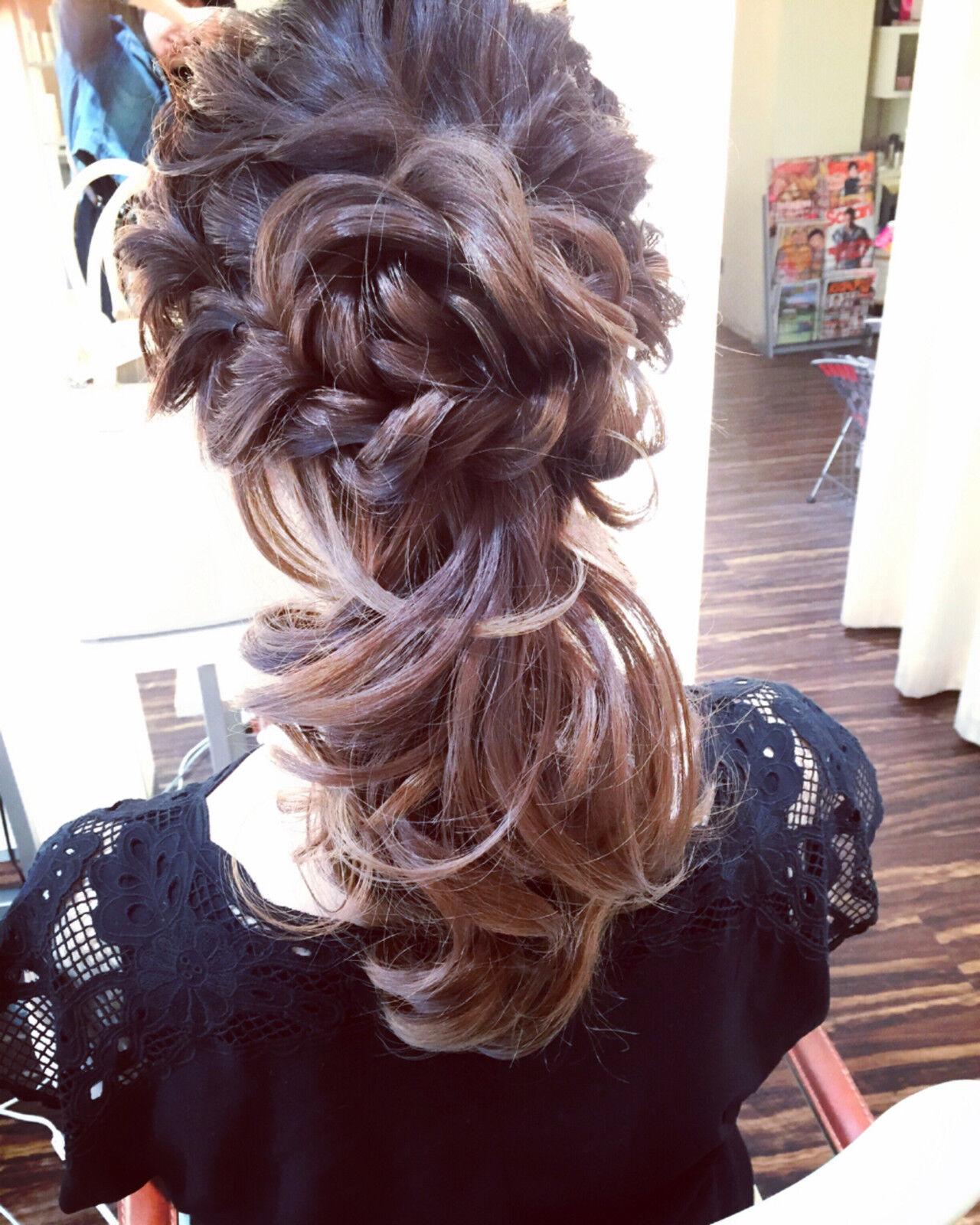 セミロング ヘアアレンジ パーティ 結婚式ヘアスタイルや髪型の写真・画像