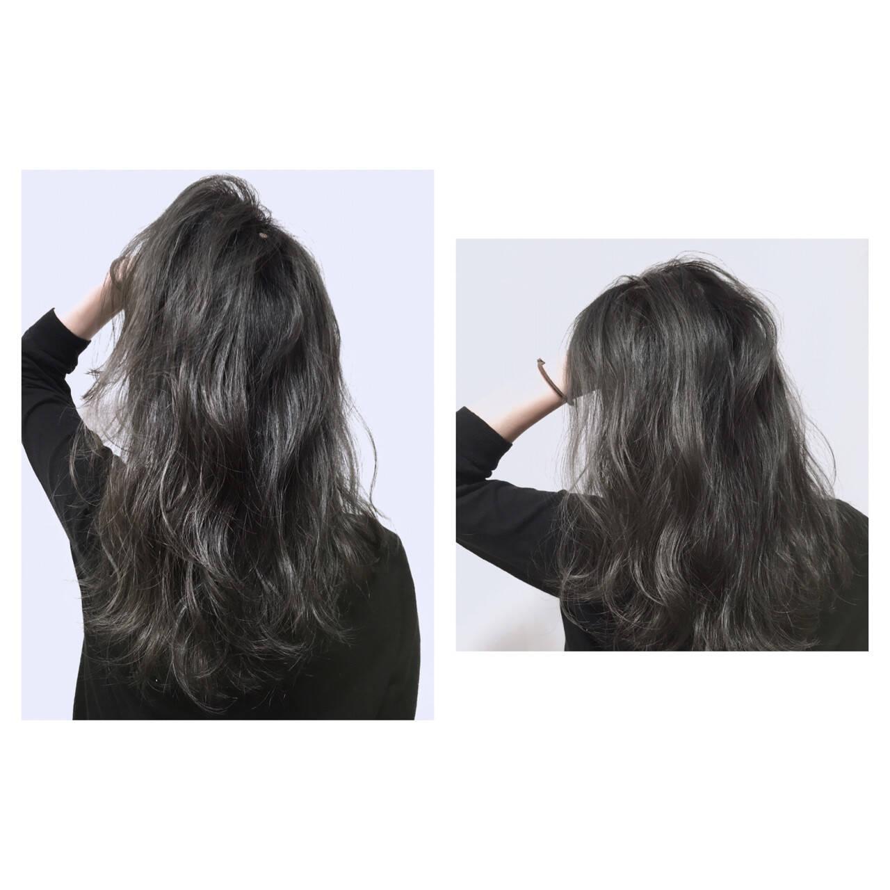 グレージュ ダブルカラー ストリート 暗髪ヘアスタイルや髪型の写真・画像