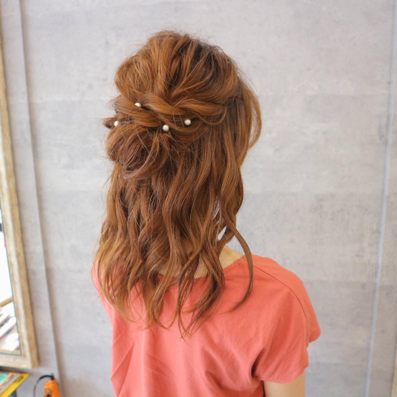 色気 ヘアアレンジ セミロング 女子会ヘアスタイルや髪型の写真・画像