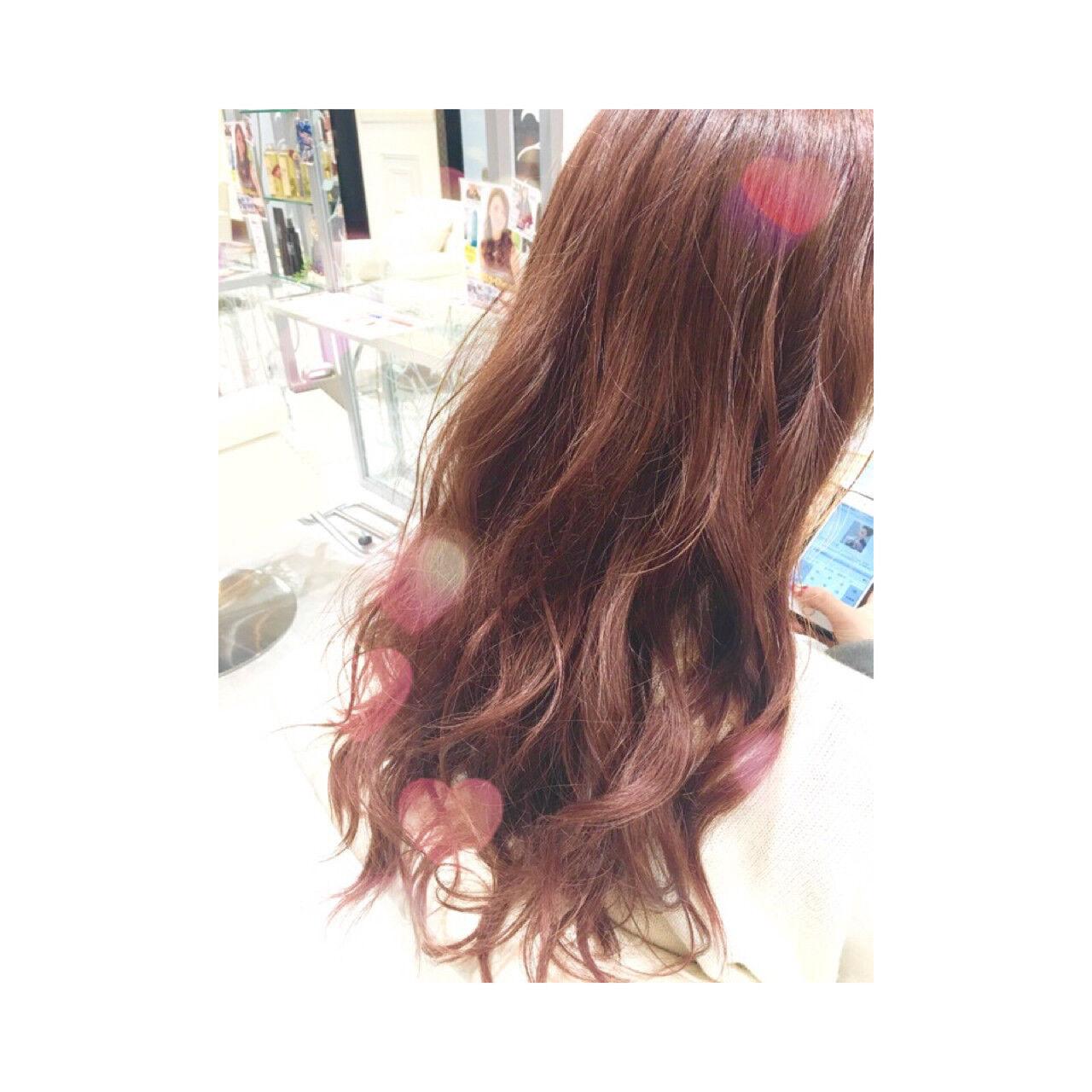 ガーリー ピンク ゆるふわ イルミナカラーヘアスタイルや髪型の写真・画像