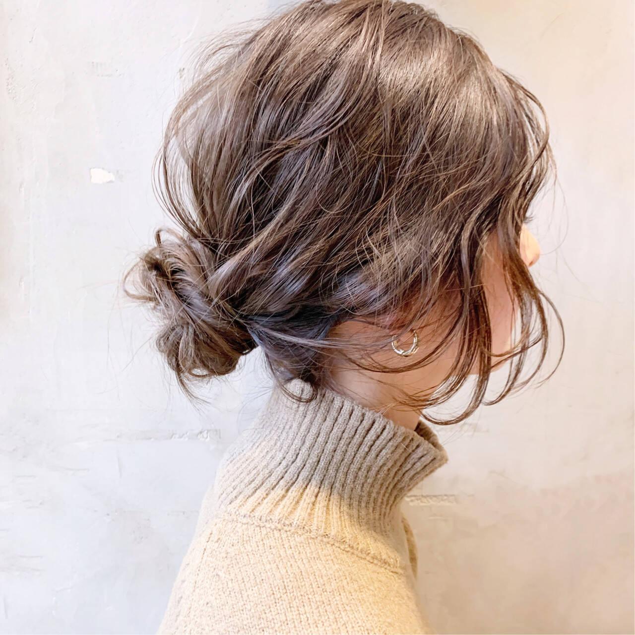 お団子アレンジ 簡単ヘアアレンジ 透明感カラー ロングヘアスタイルや髪型の写真・画像
